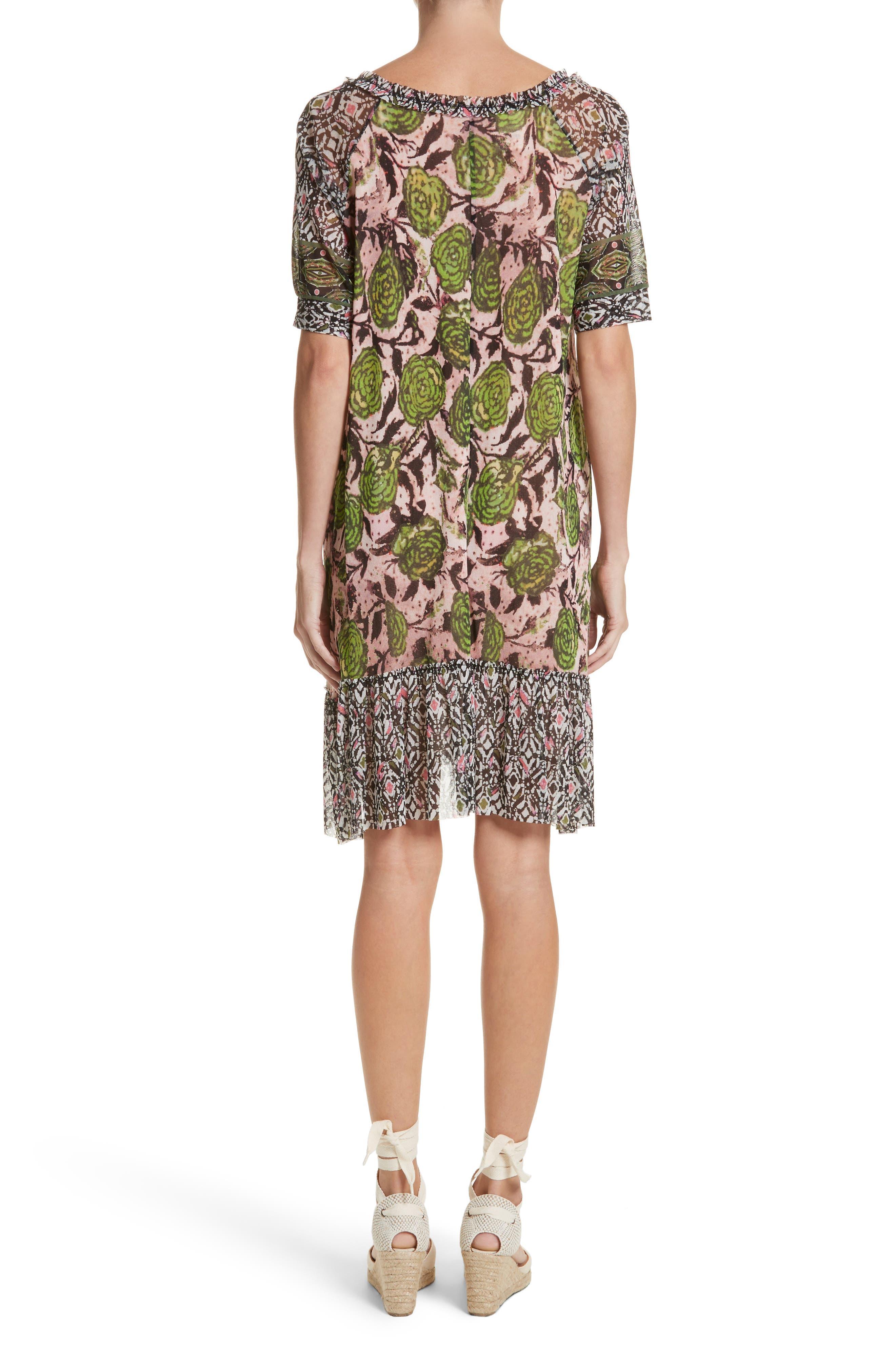Print Tulle Peasant Dress,                             Alternate thumbnail 2, color,
