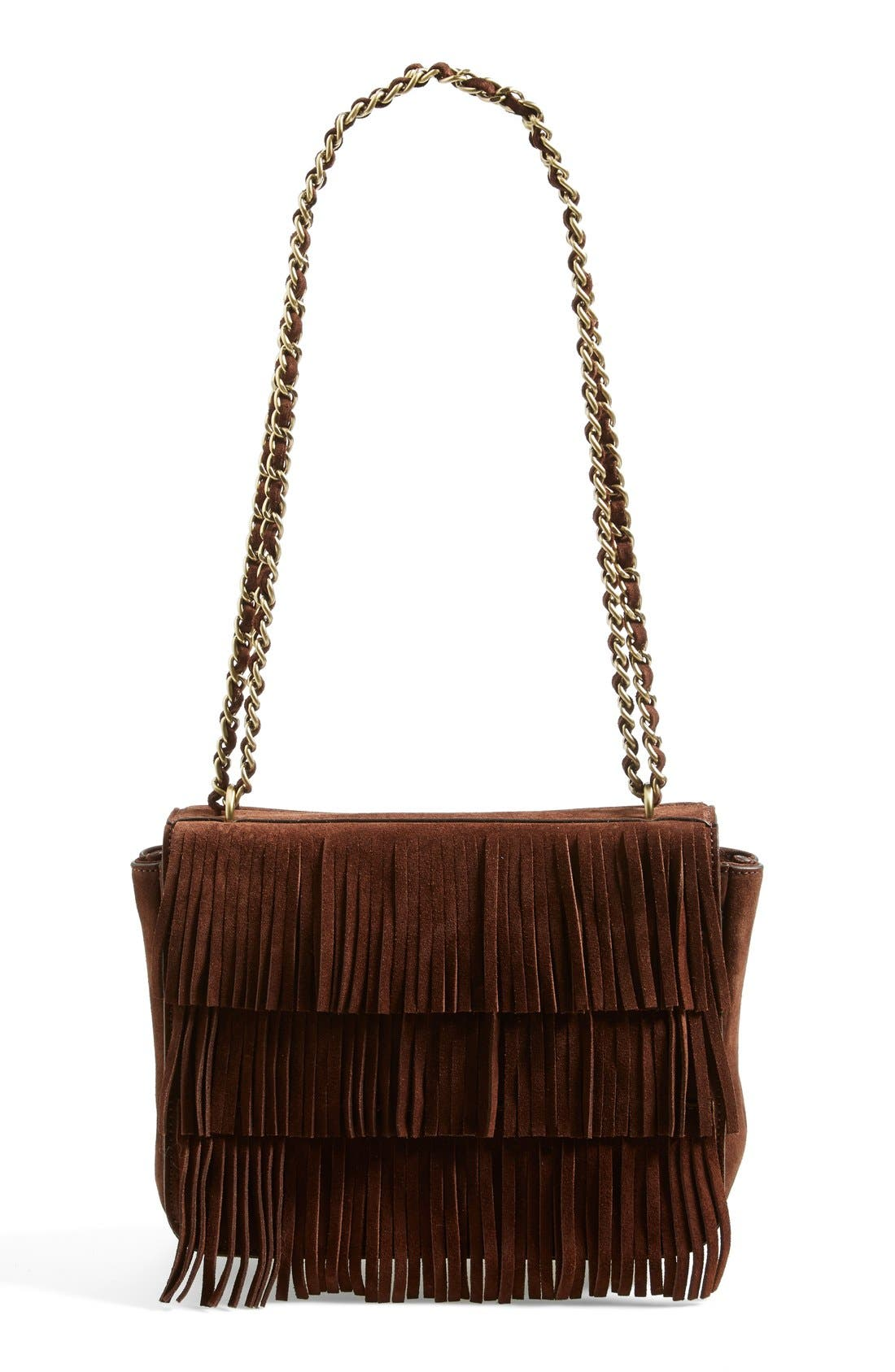 TORY BURCH,                             Fringe Shoulder Bag,                             Alternate thumbnail 2, color,                             201