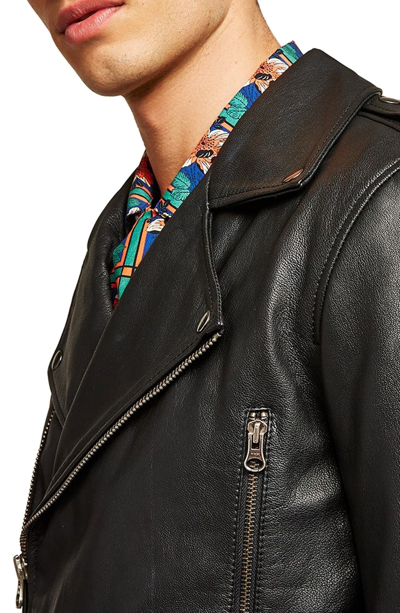Classic Fit Leather Biker Jacket,                             Alternate thumbnail 3, color,                             BLACK