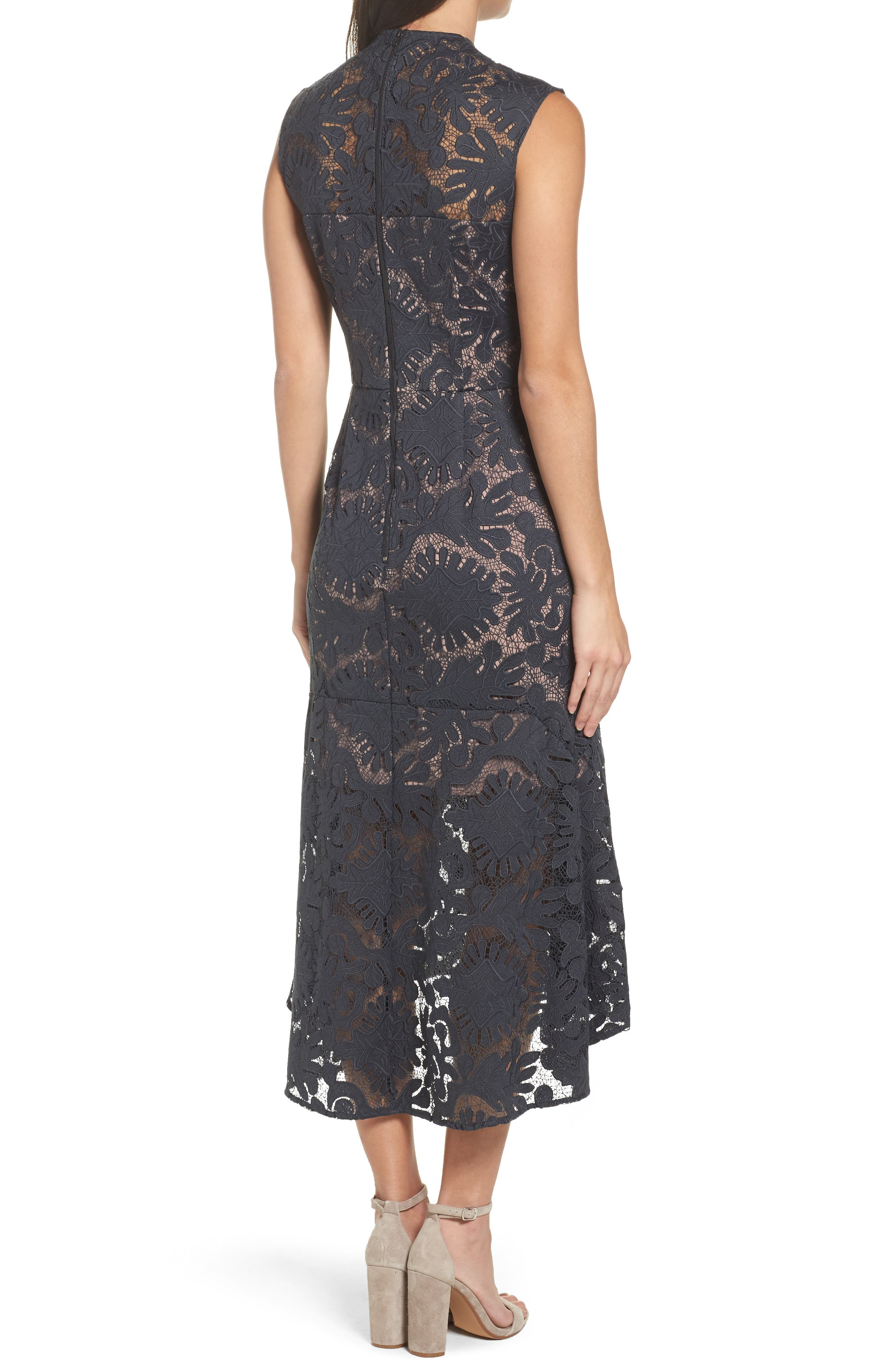 Lace Midi Dress,                             Alternate thumbnail 2, color,                             410