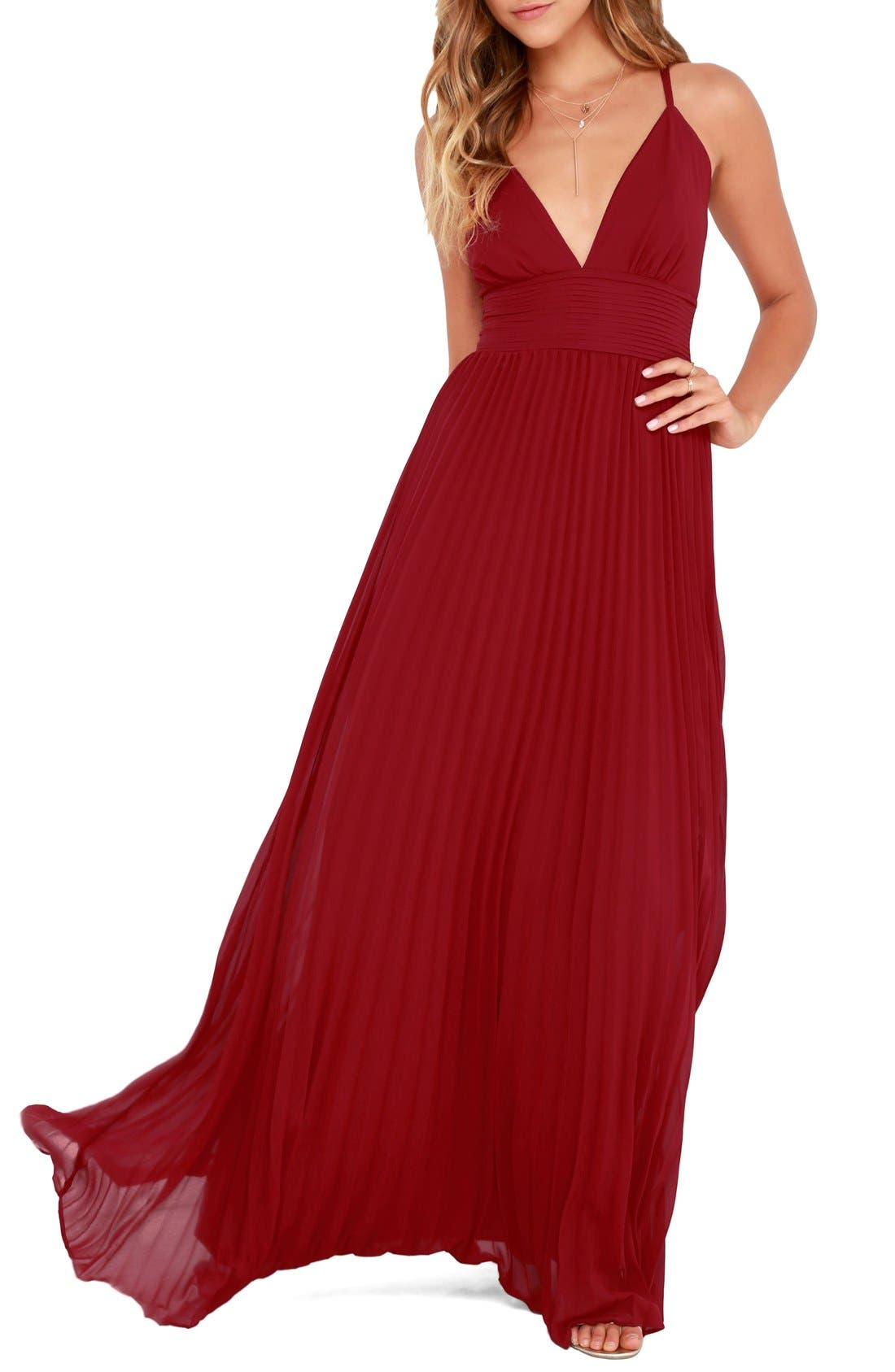 Plunging V-Neck Pleat Georgette Gown,                             Main thumbnail 8, color,