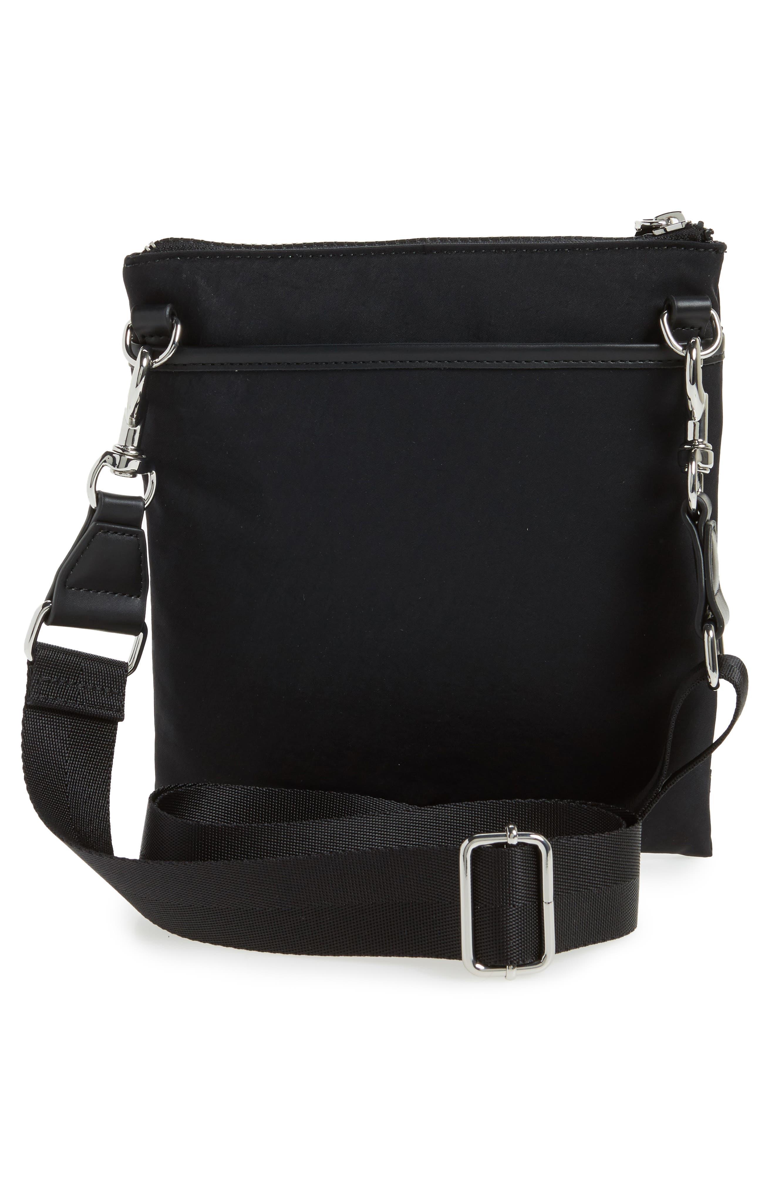 Nylon Flap Crossbody Bag,                             Alternate thumbnail 3, color,                             001