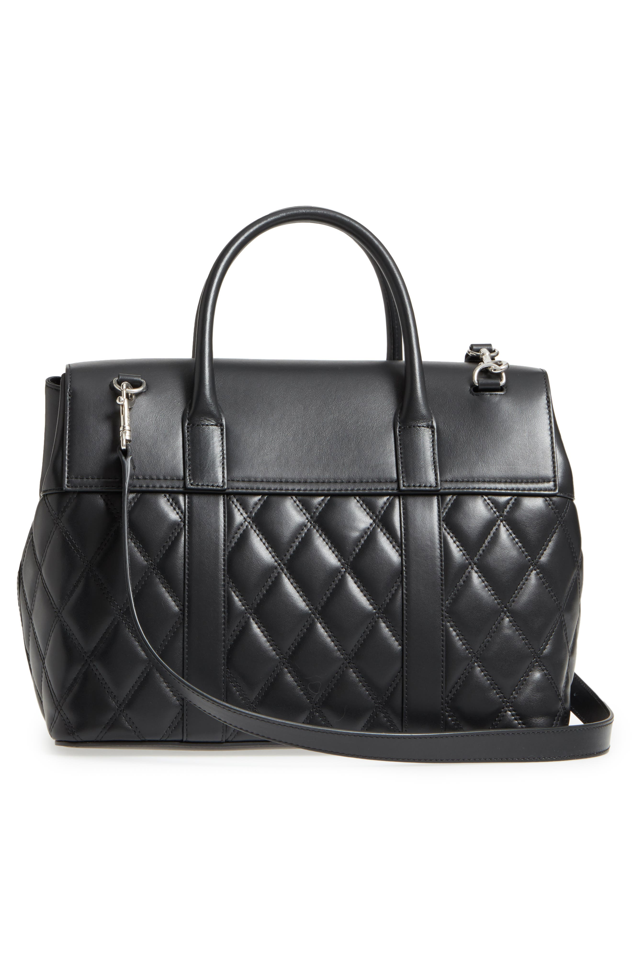 Bayswater Quilted Calfskin Leather Satchel,                             Alternate thumbnail 3, color,                             010