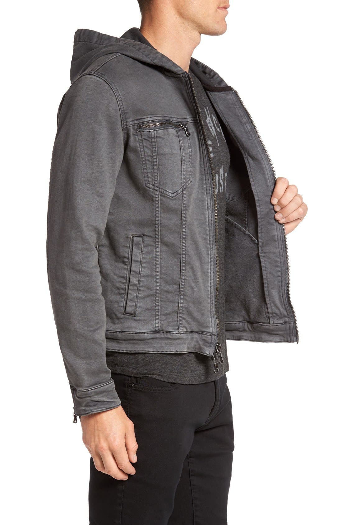 Hooded Denim Jacket,                             Alternate thumbnail 6, color,