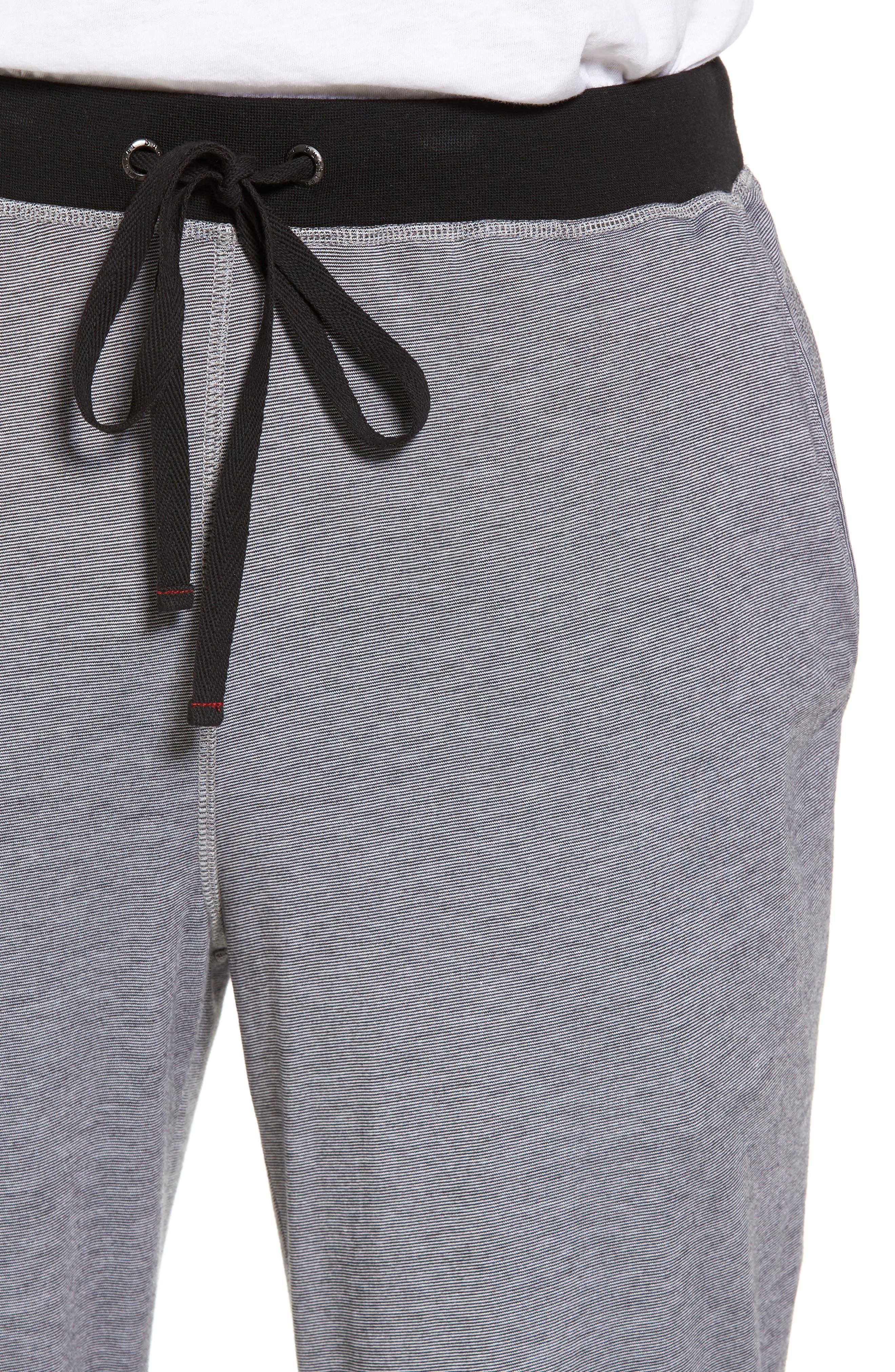 Pima Cotton & Modal Lounge Pants,                             Alternate thumbnail 4, color,                             001