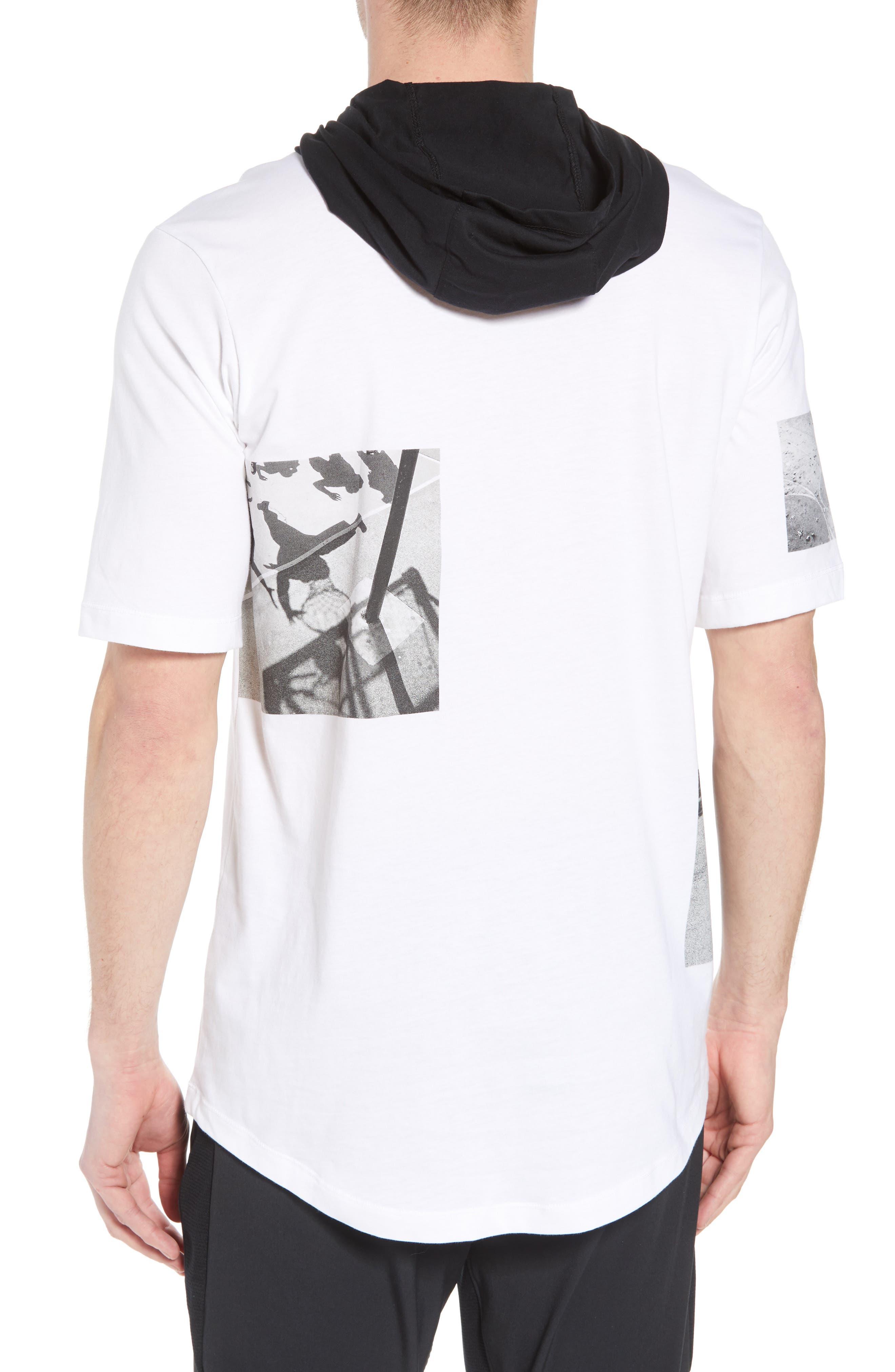Modern Photo Hooded T-Shirt,                             Alternate thumbnail 2, color,                             WHITE/ BLACK