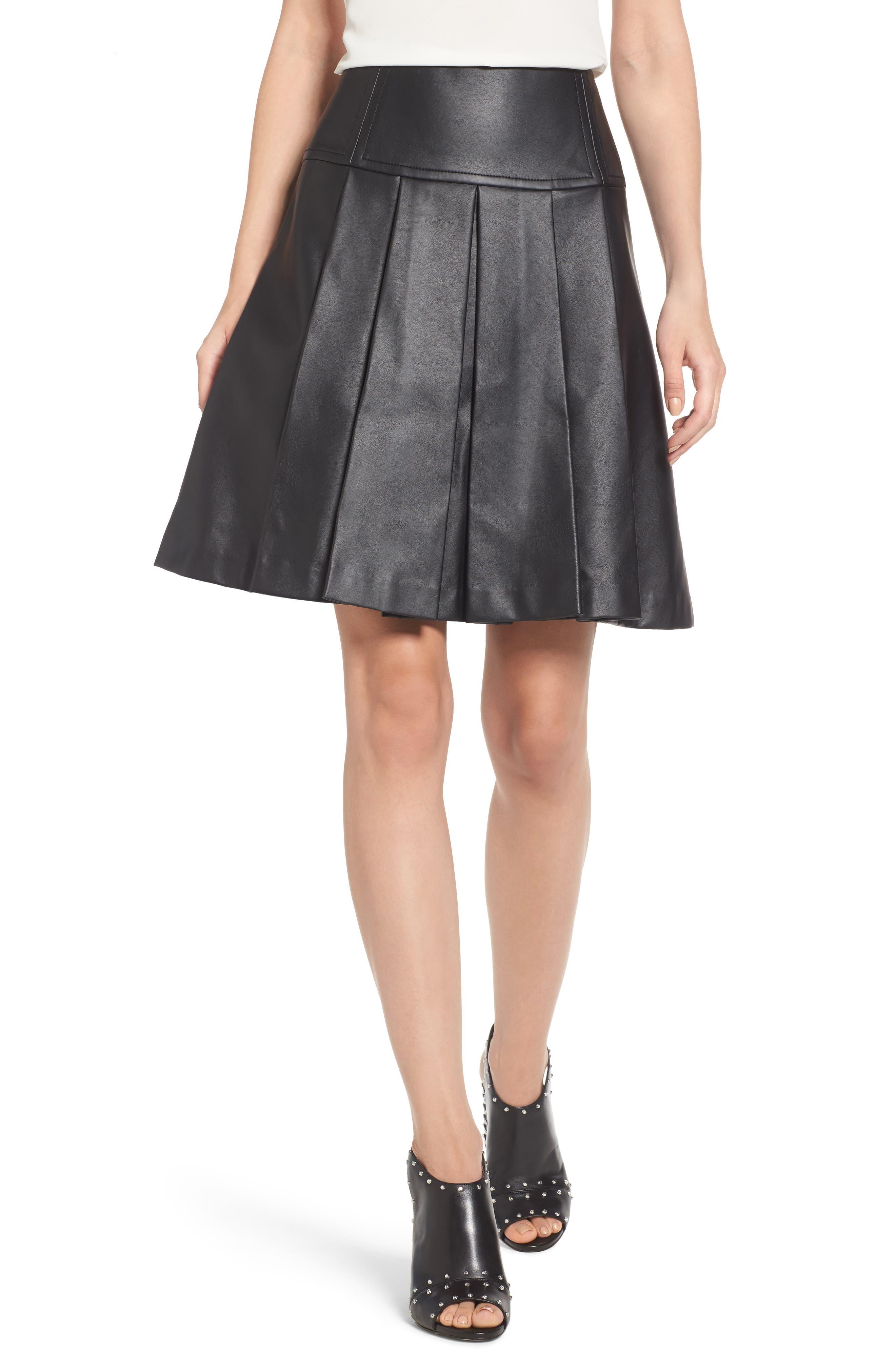 Pleat Faux Leather Skirt,                             Main thumbnail 1, color,                             001