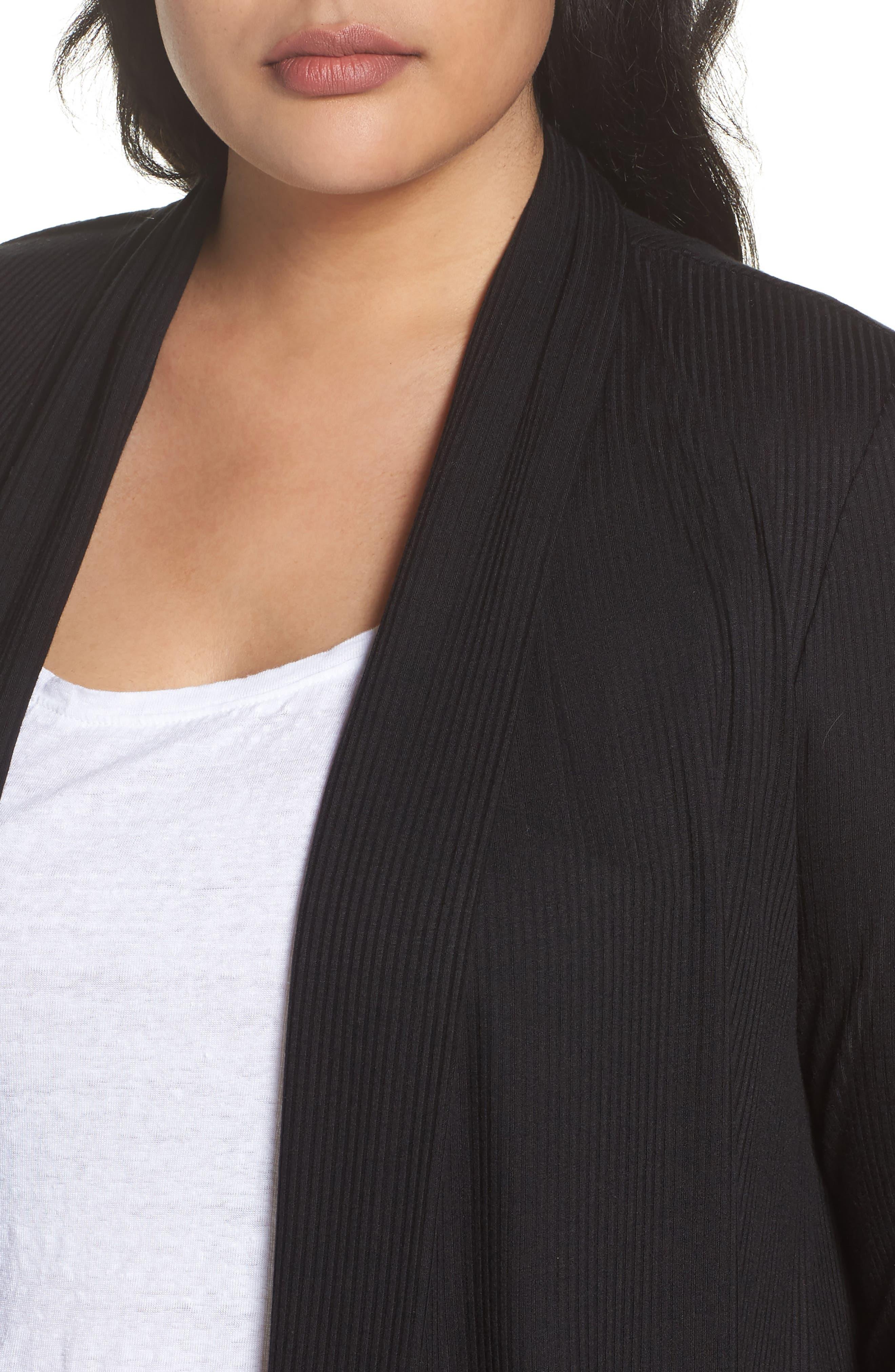 Drape Front Ribbed Cardigan,                             Alternate thumbnail 4, color,                             001
