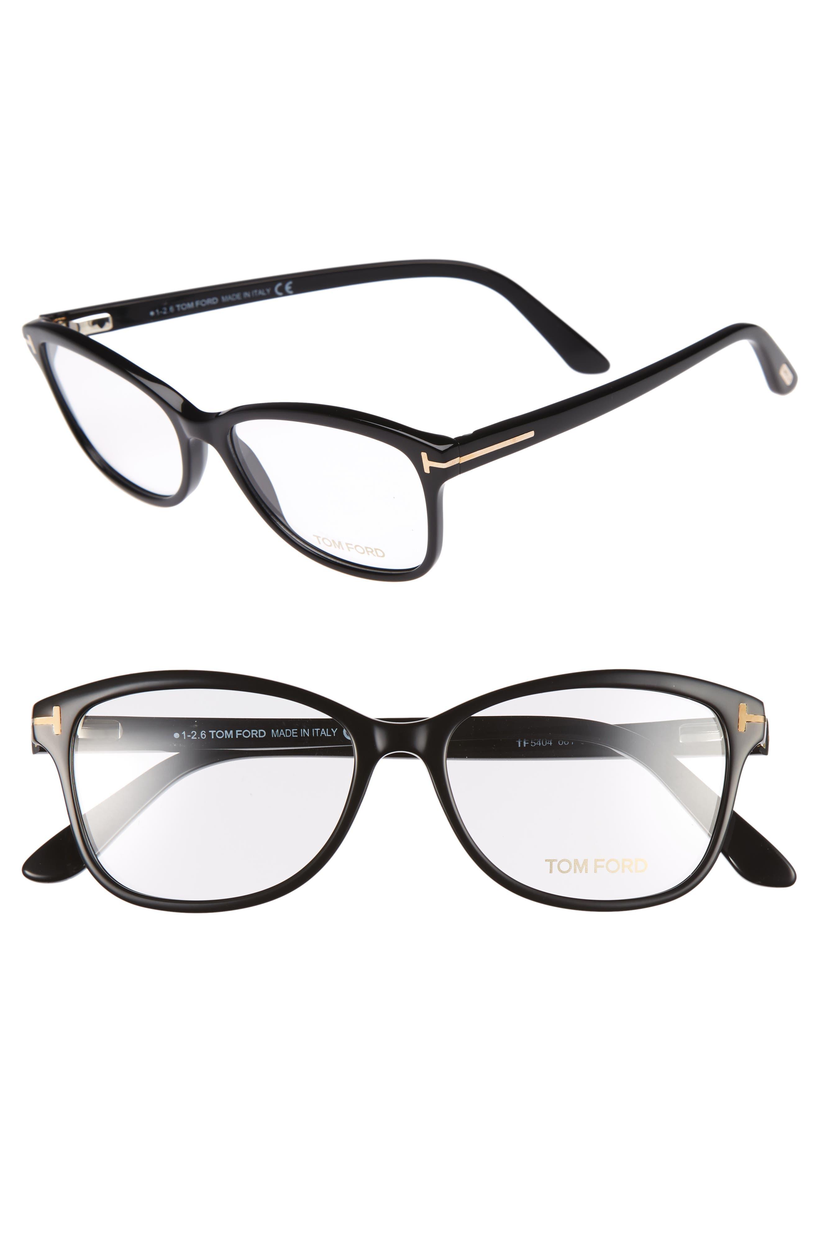 53mm Optical Glasses,                         Main,                         color, SHINY BLACK