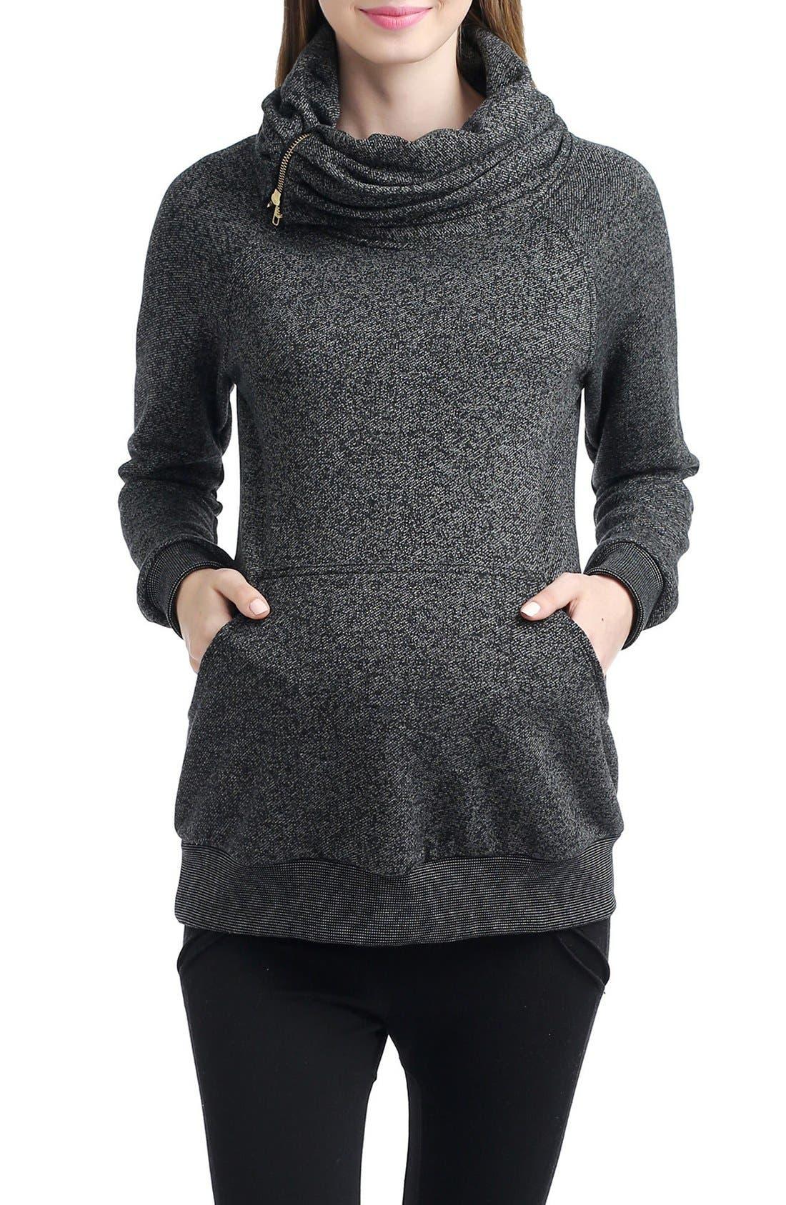 'Thea' Zip Collar Maternity Sweatshirt,                             Main thumbnail 1, color,                             BLACK