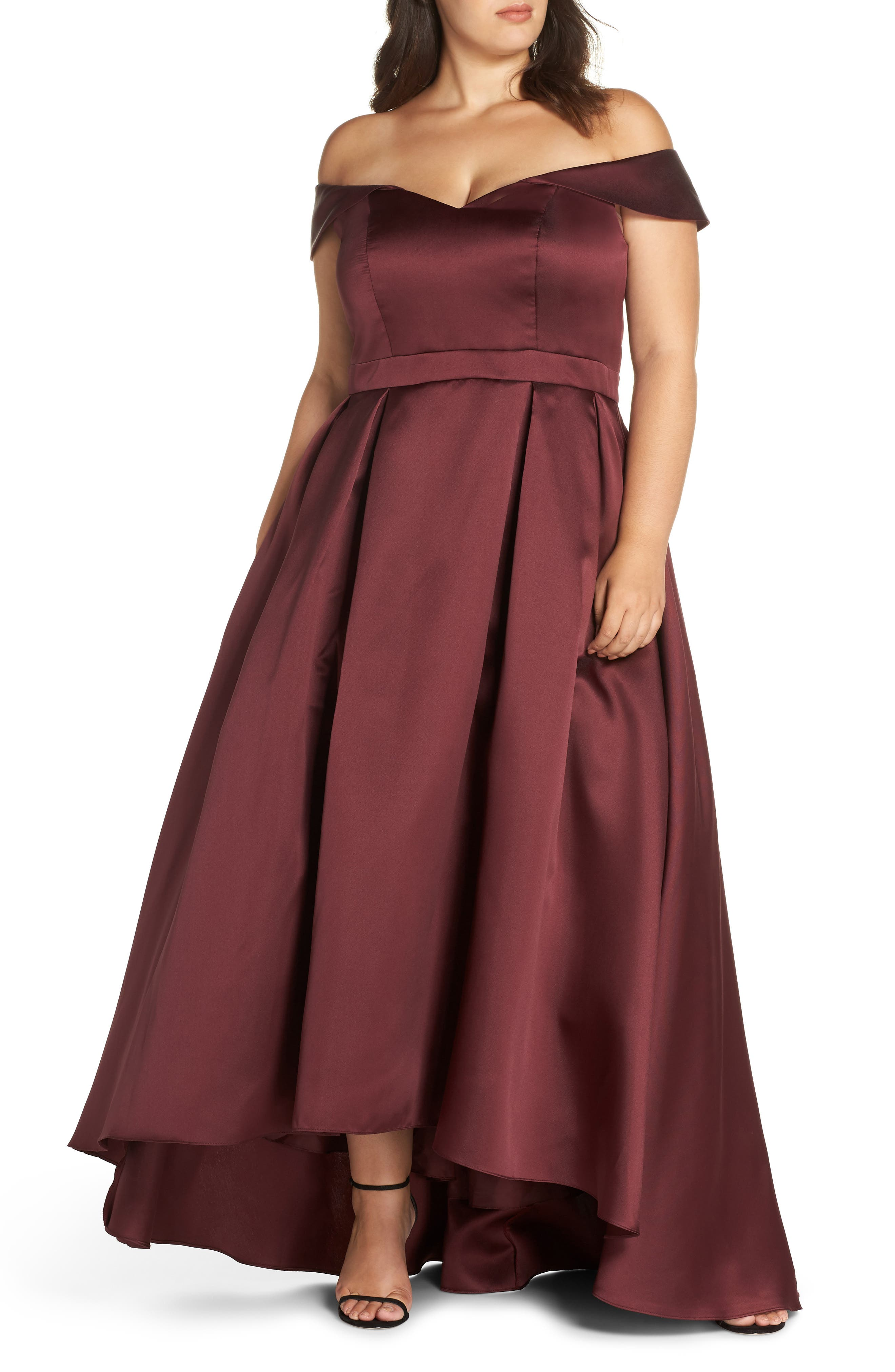 Off the Shoulder Mikado High/Low Gown,                             Main thumbnail 1, color,                             600