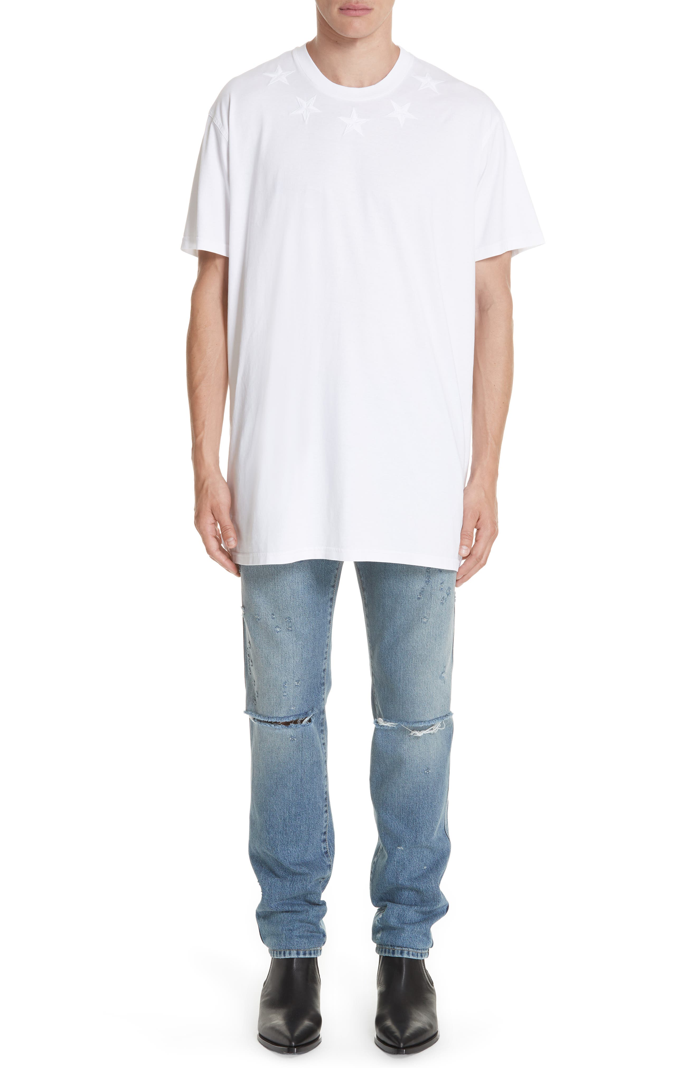 GIVENCHY,                             Star Appliqué T-Shirt,                             Alternate thumbnail 7, color,                             WHITE