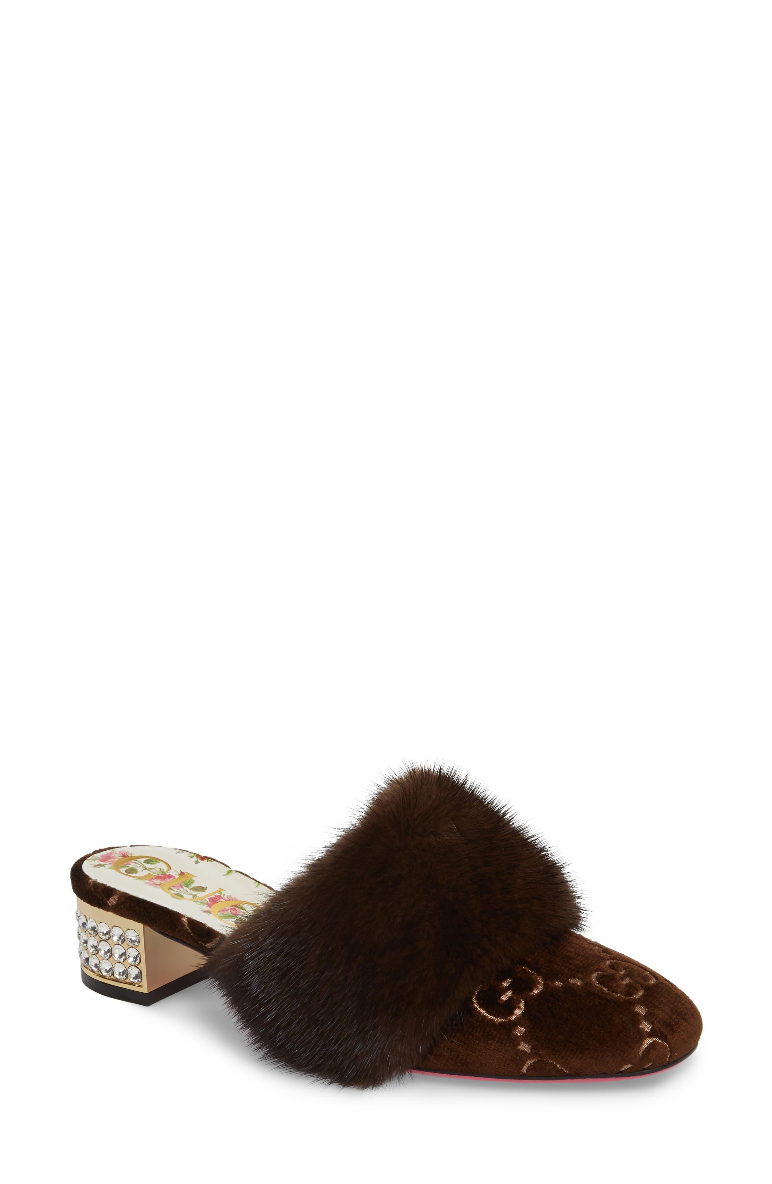 Candy Genuine Mink Fur Mule,                             Main thumbnail 1, color,                             MARRONE