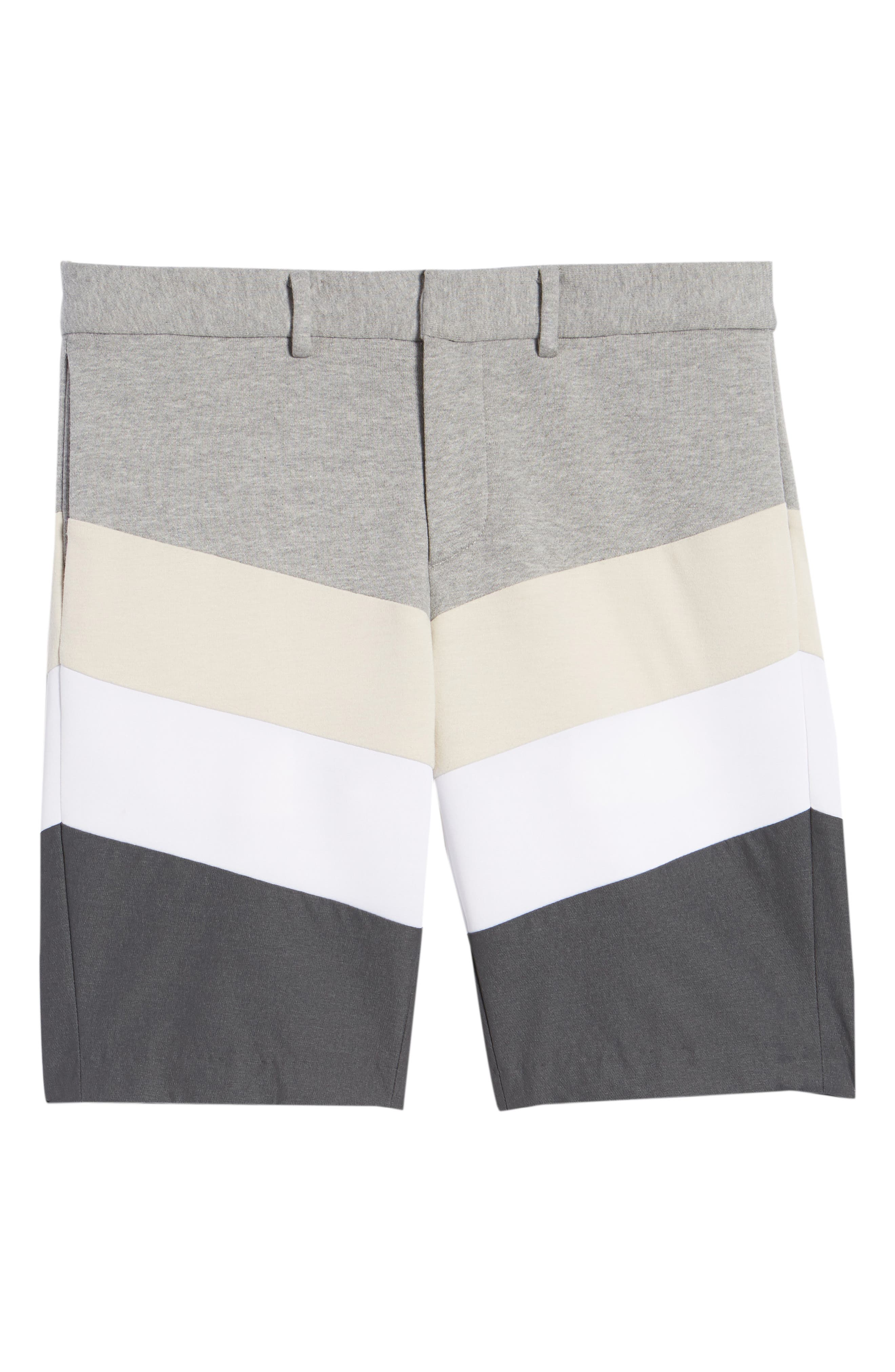 Chevron Colorblock Shorts,                             Alternate thumbnail 6, color,                             HEATHER GREY