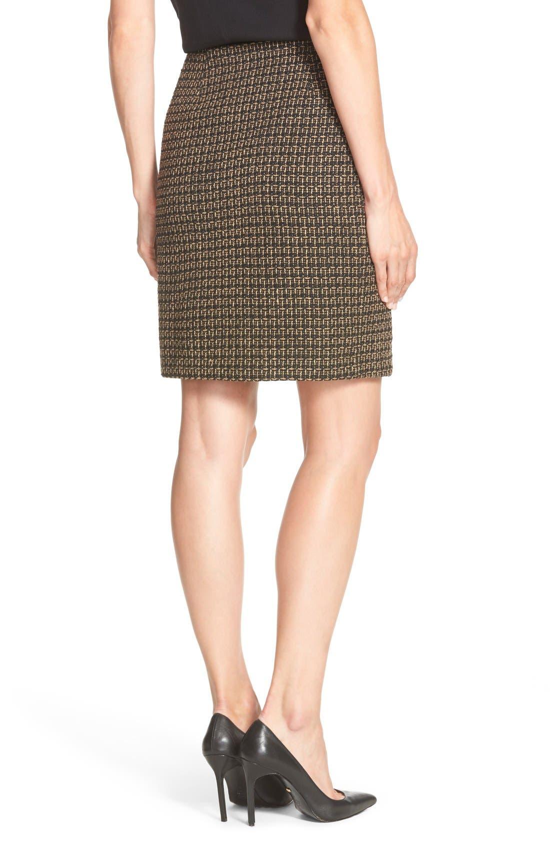 Tweed FauxWrap Pencil Skirt,                             Alternate thumbnail 2, color,                             200