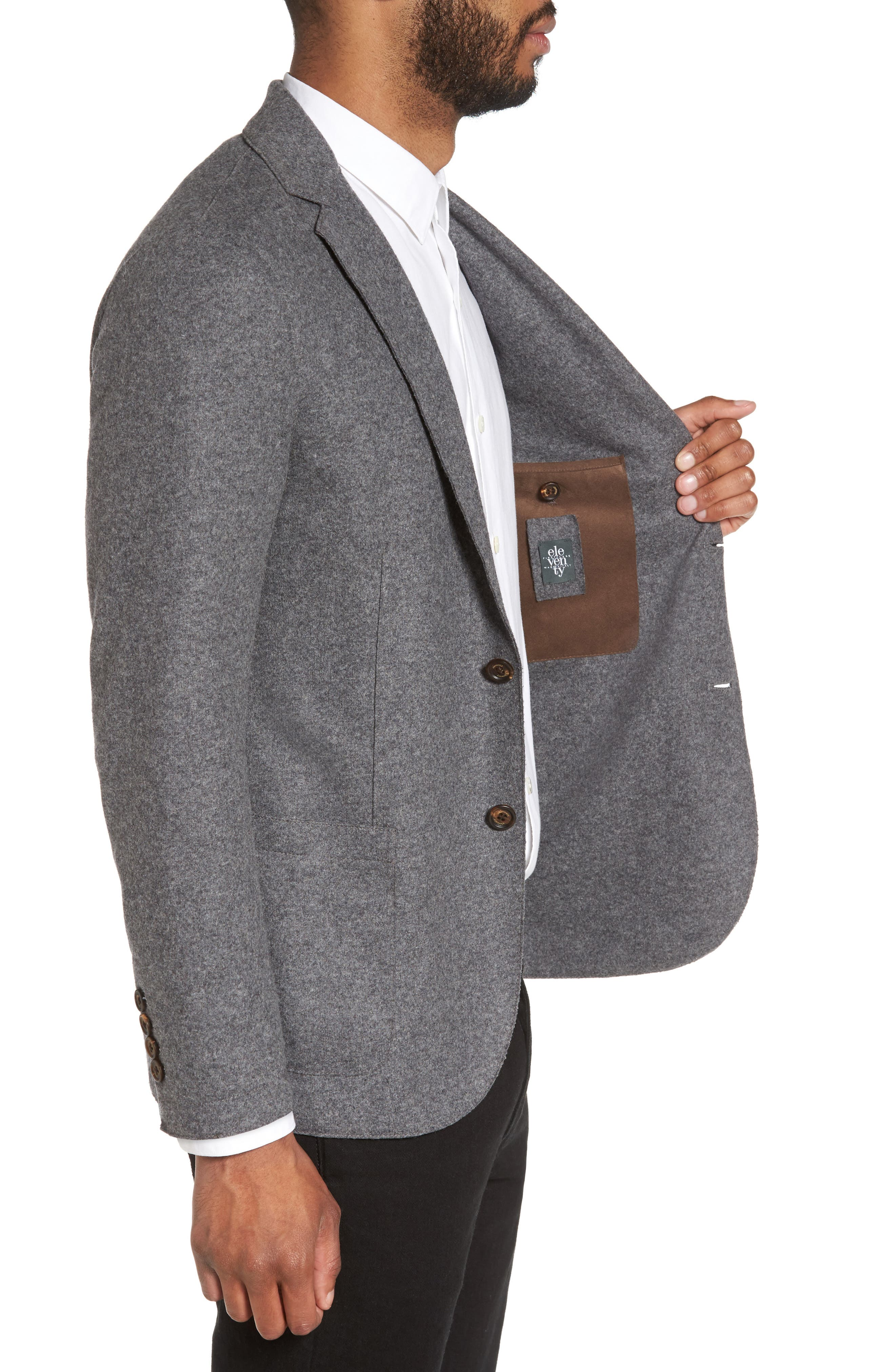 Wool Blend Blazer,                             Alternate thumbnail 3, color,                             SMOKE GREY MELANGE