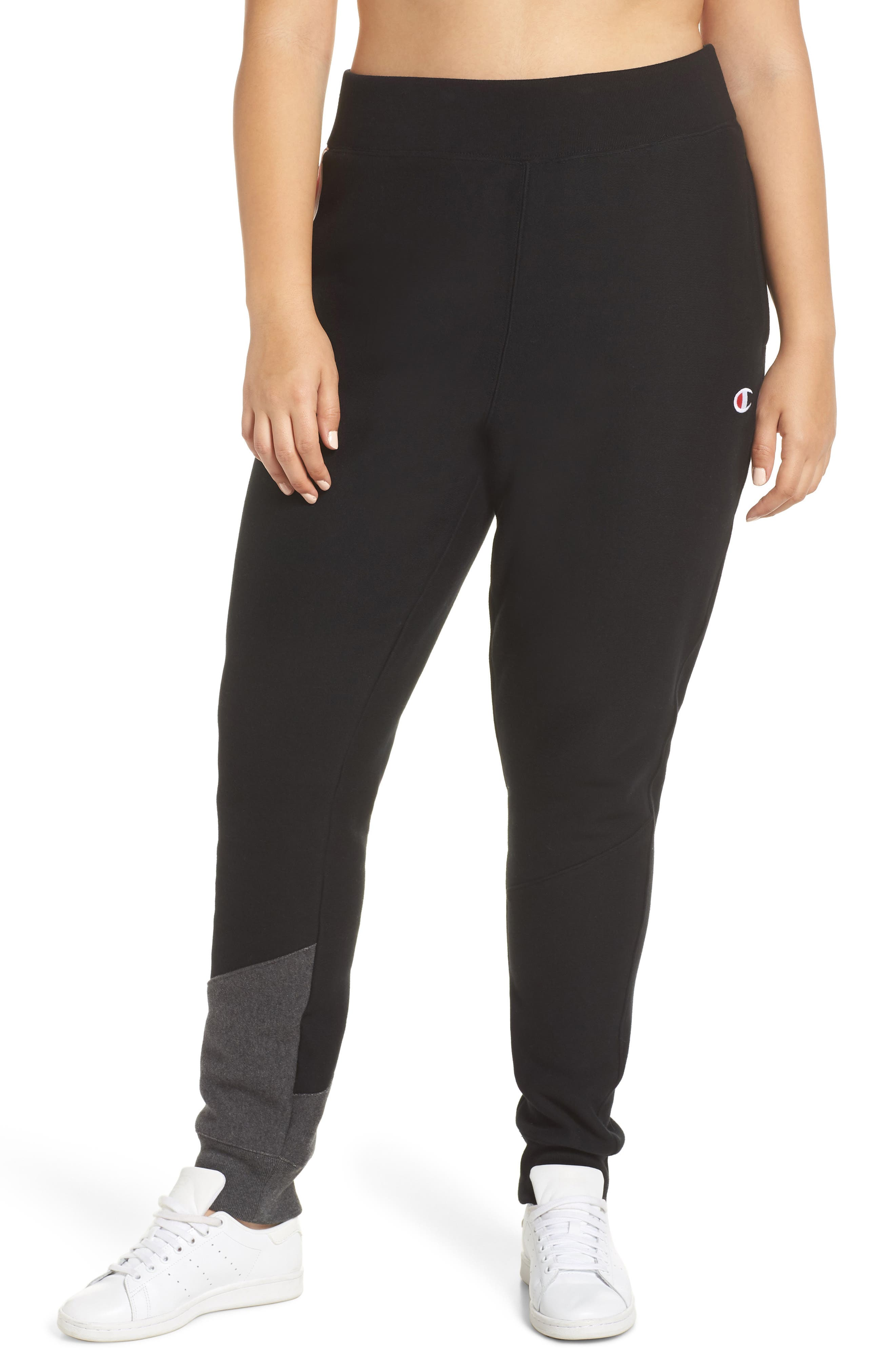 Color Block Jogger Pants,                             Alternate thumbnail 2, color,                             BLACK/ GRANITE HEATHER