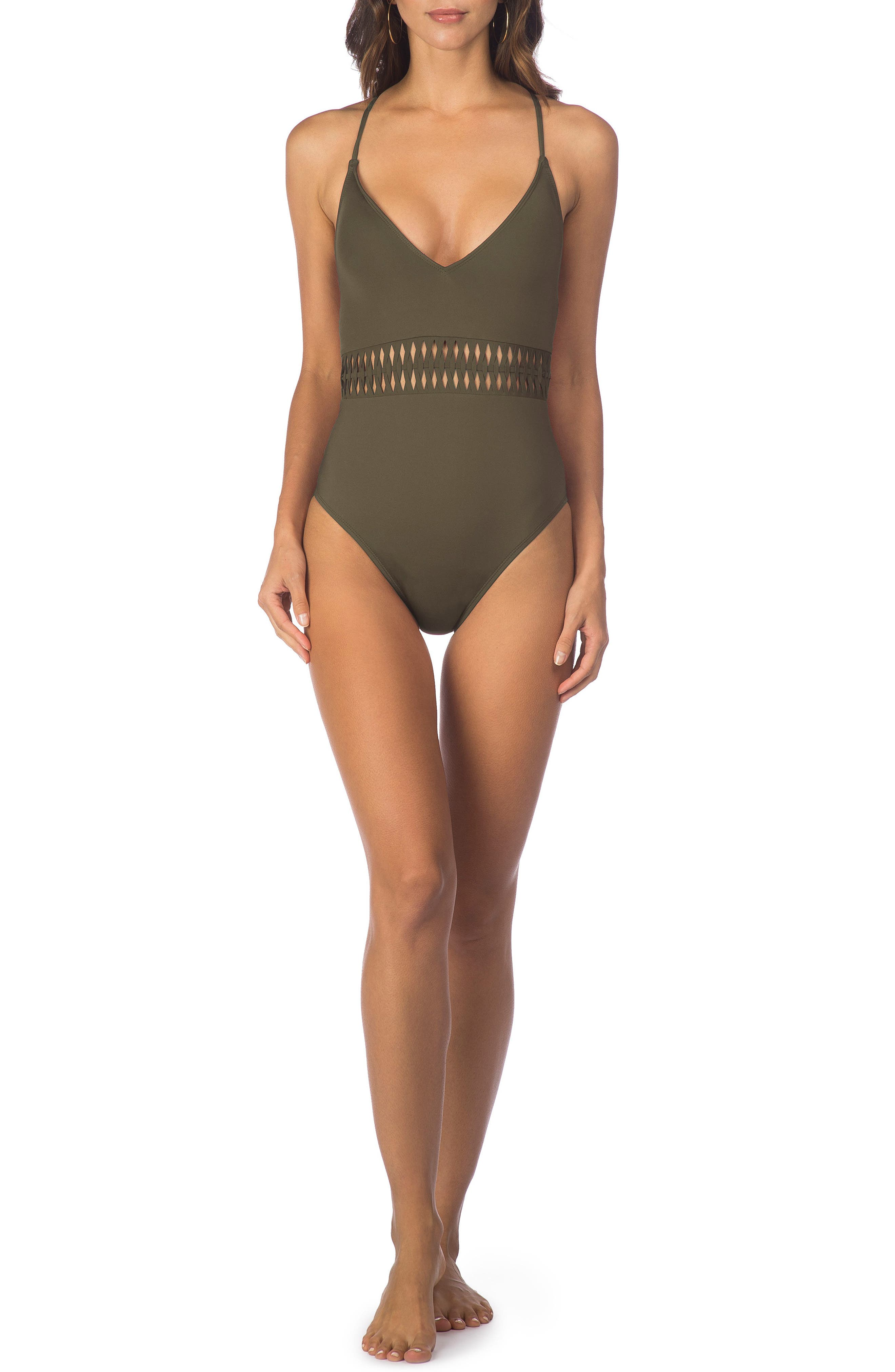 Kenneth Cole Weave Your Own Way One-Piece Swimsuit,                             Main thumbnail 4, color,