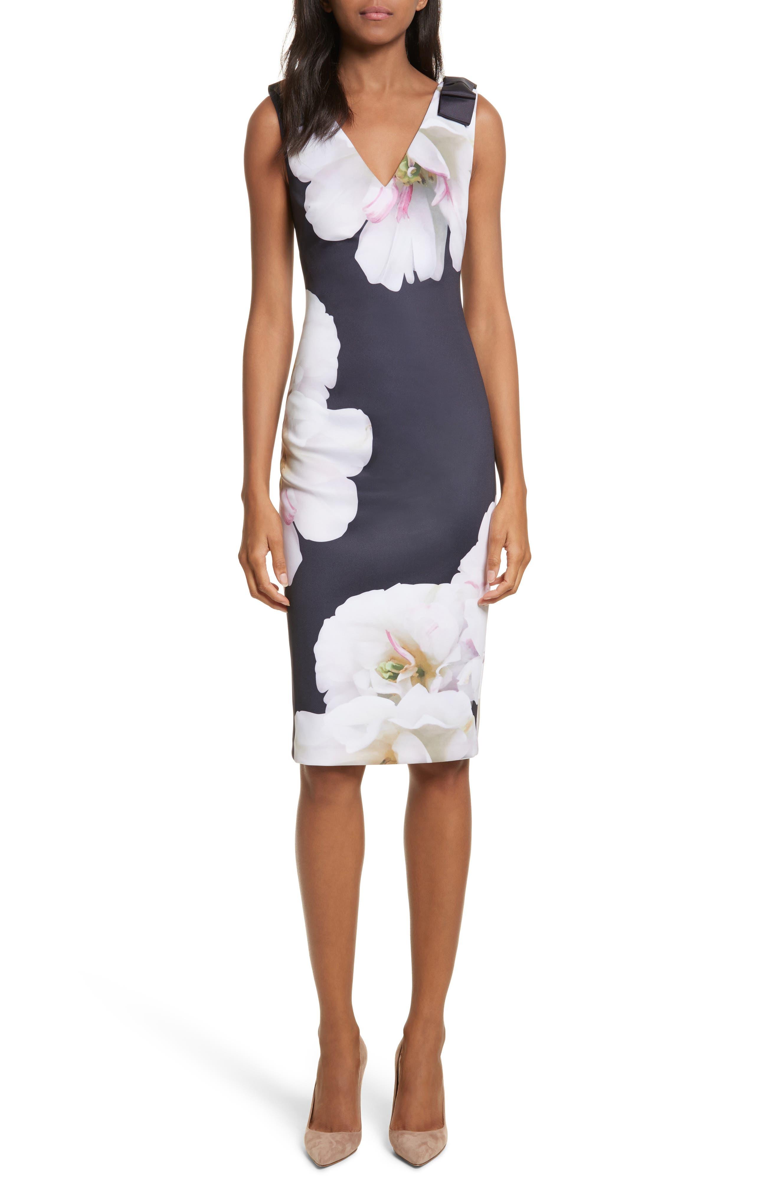 Gardenia Bow Shoulder Body-Con Dress,                             Main thumbnail 1, color,