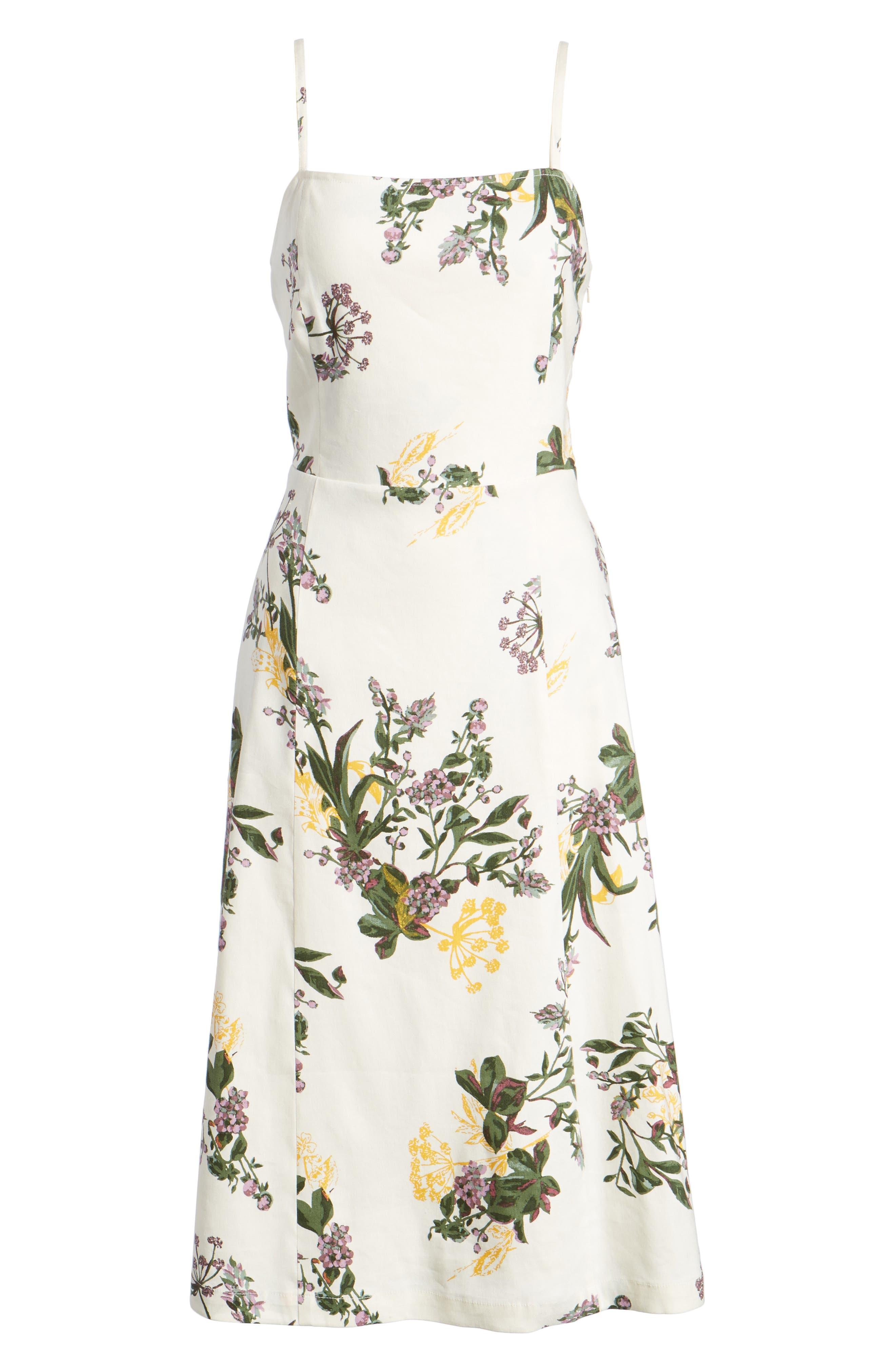 Floral Print Midi Dress,                             Alternate thumbnail 7, color,                             900