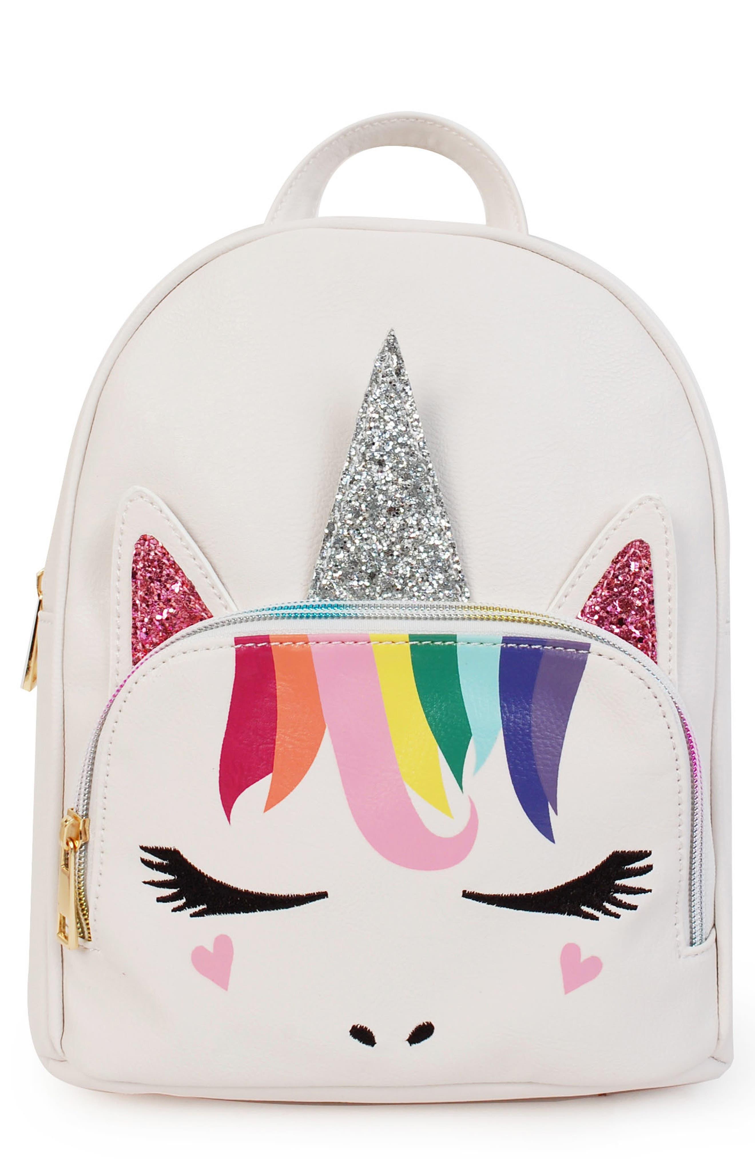OMG,                             Rainbow Unicorn Mini Backpack,                             Main thumbnail 1, color,                             WHITE