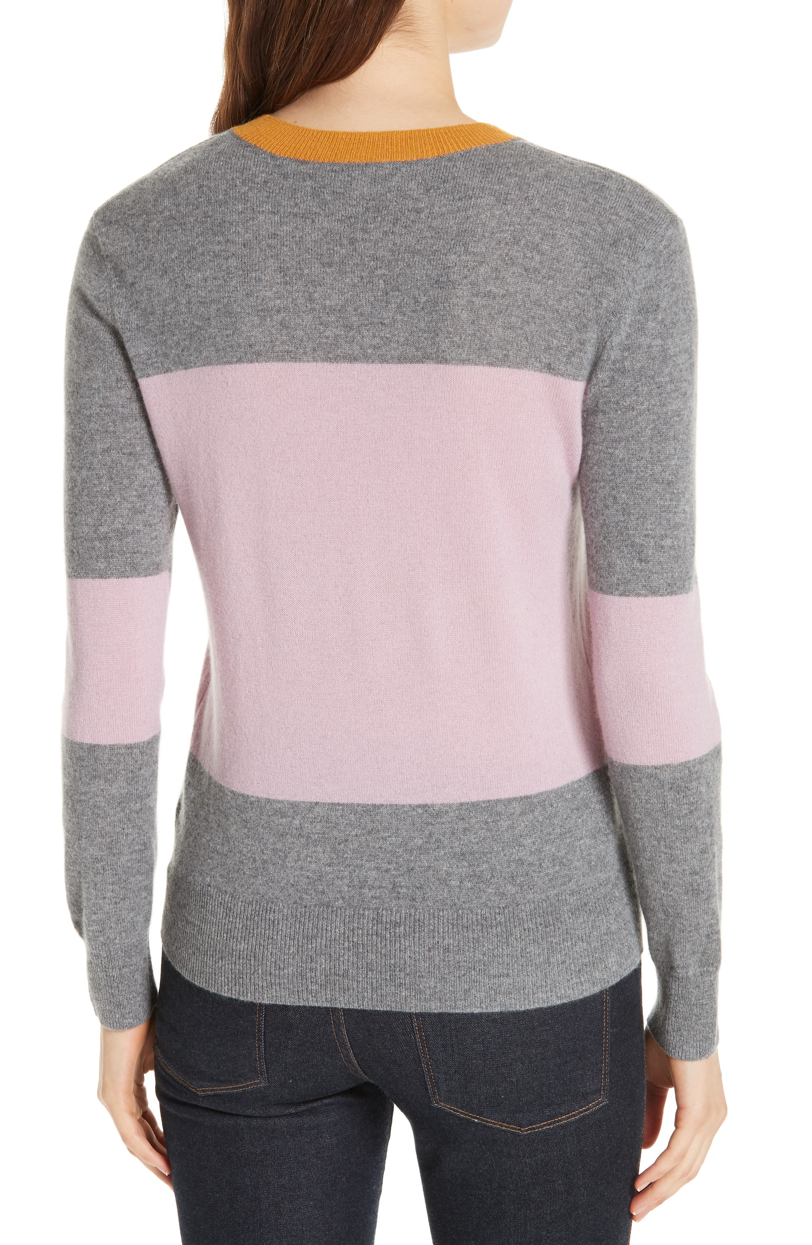 Colour by Numbers Bryonny Colorblock Cashmere Sweater,                             Alternate thumbnail 2, color,                             GREY MARL
