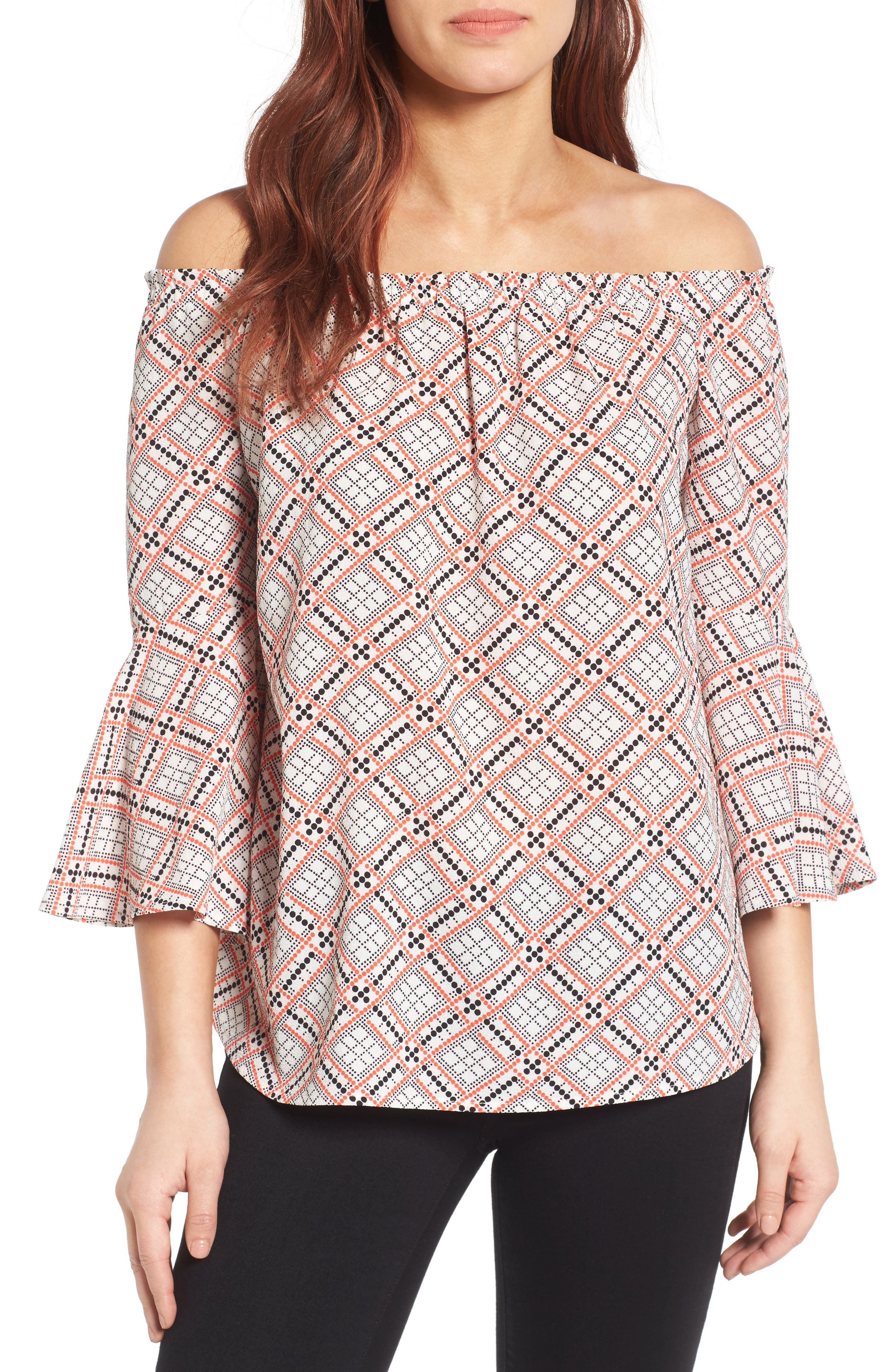 Bell Sleeve Off the Shoulder Blouse,                             Main thumbnail 1, color,