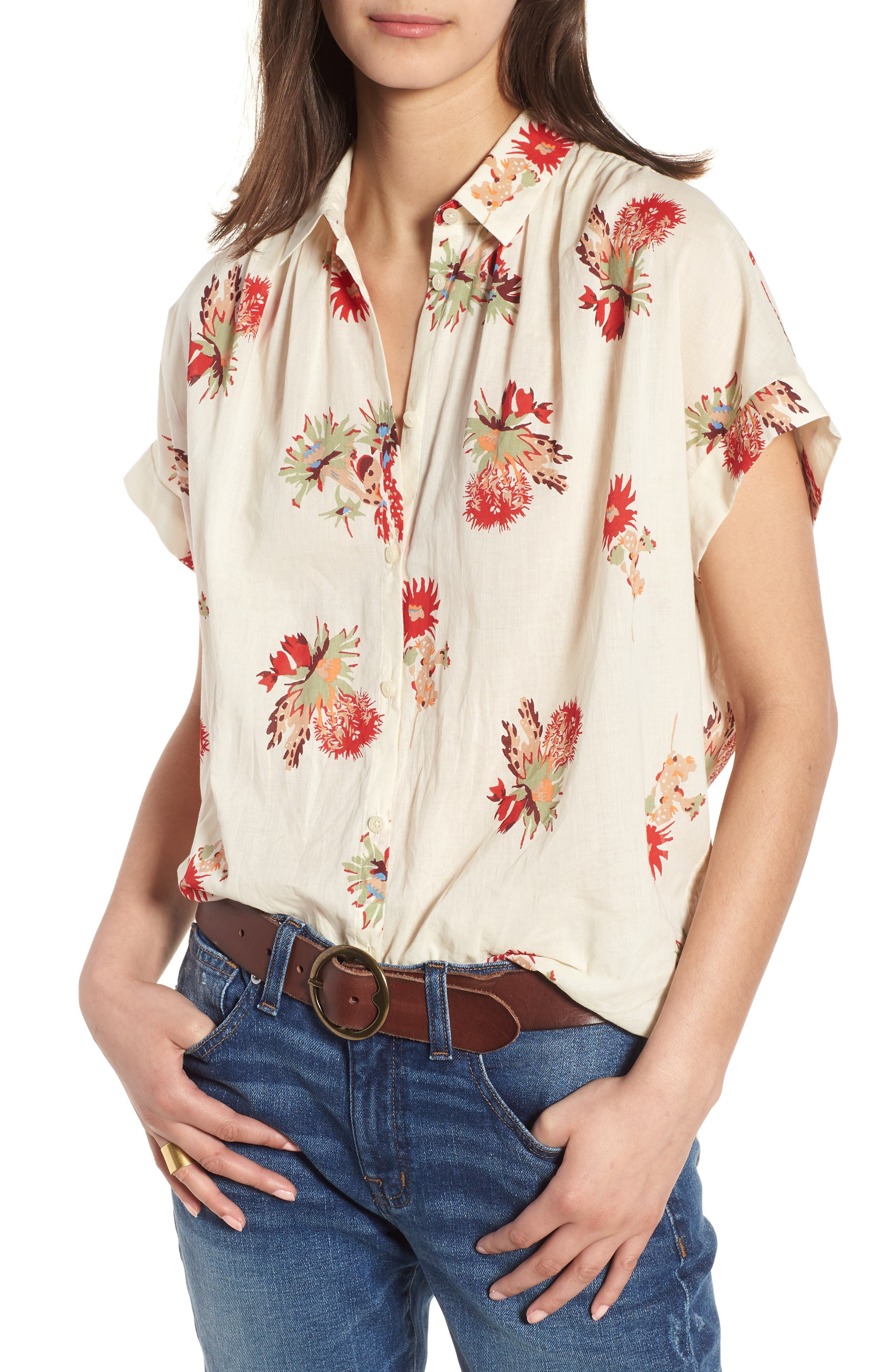 Central Cactus Floral Shirt,                             Main thumbnail 1, color,                             100