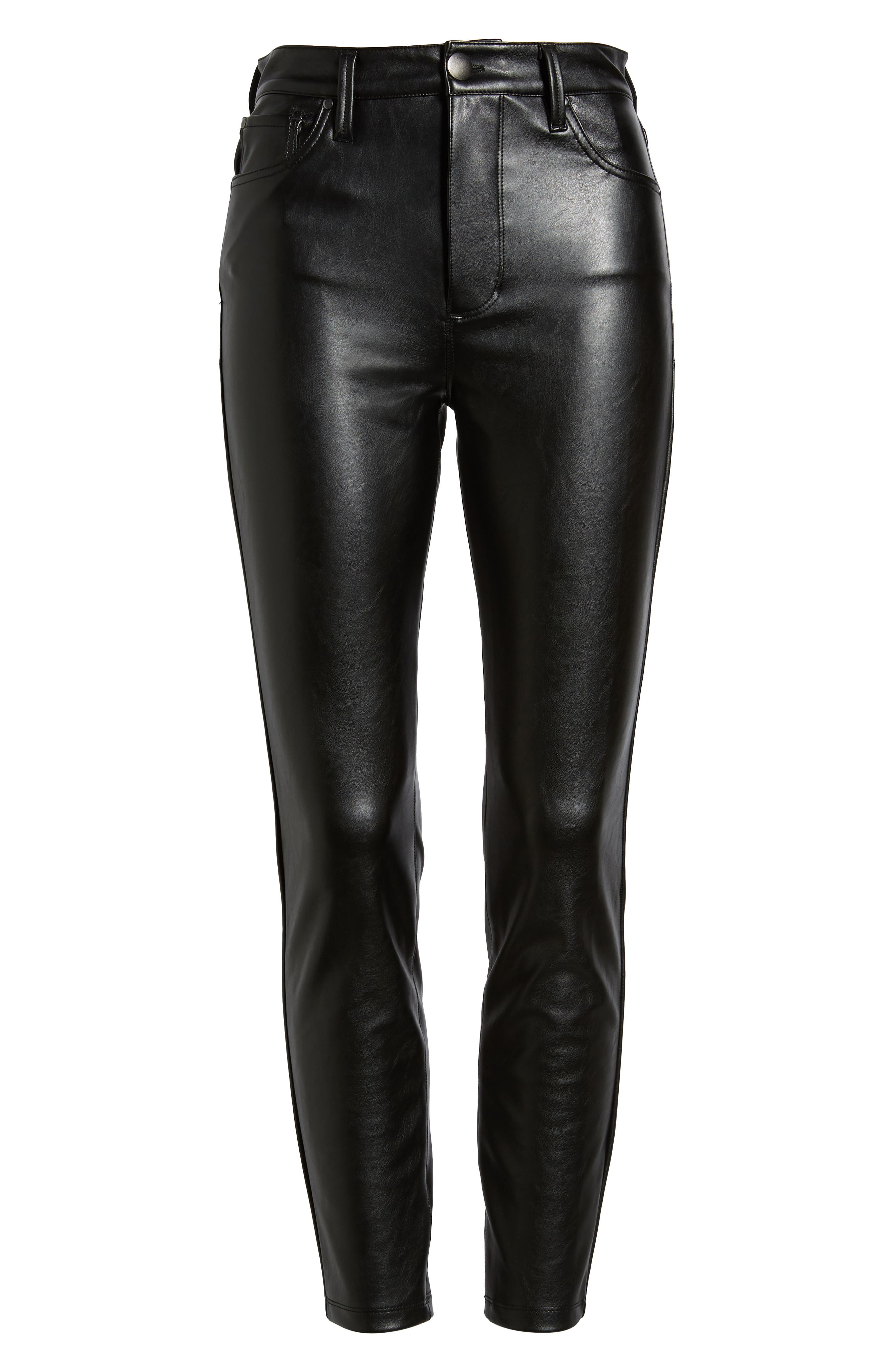 High Waist Faux Leather Skinny Pants,                             Alternate thumbnail 6, color,                             BLACK