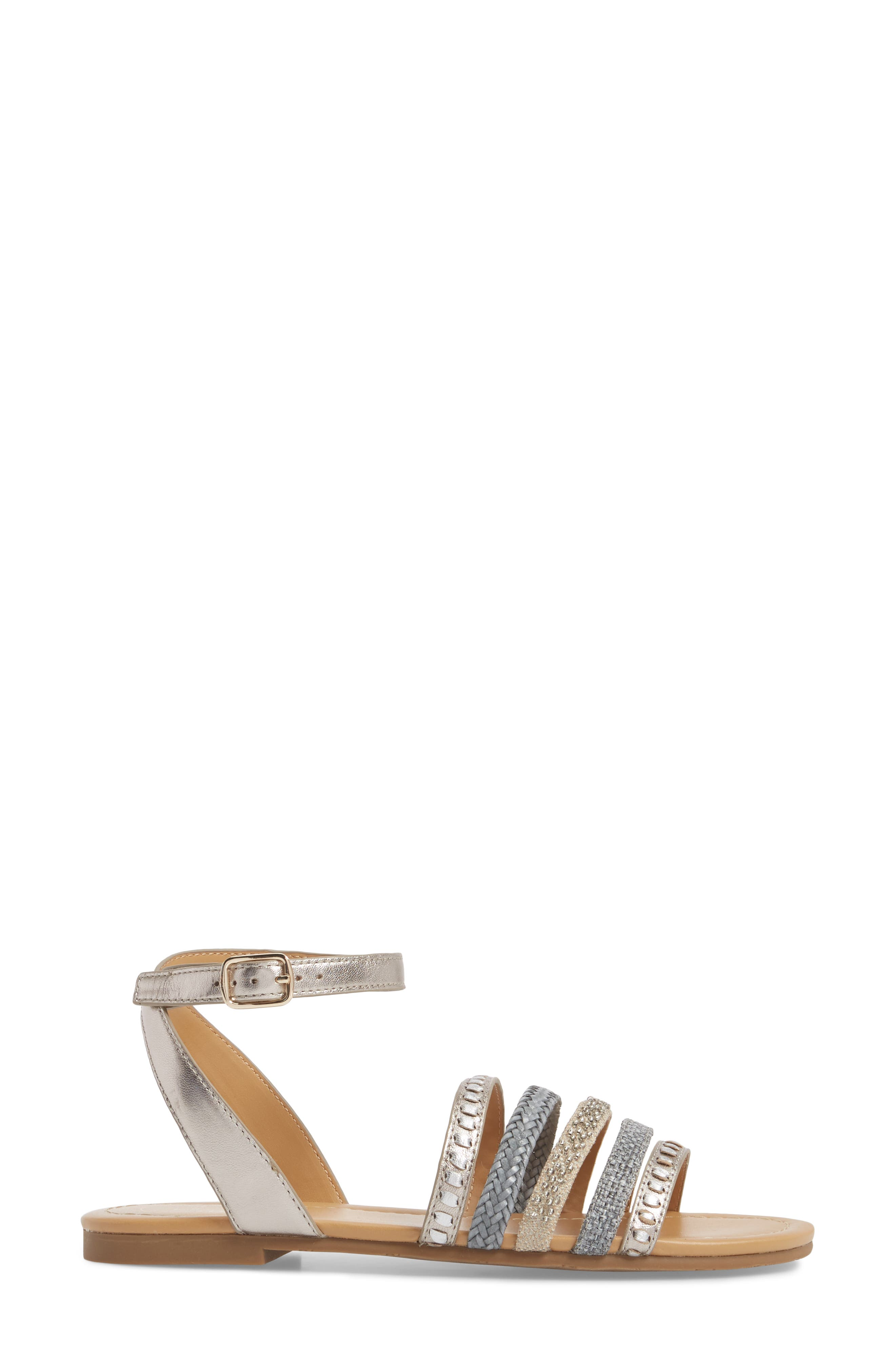 Hannah Braided Embellished Sandal,                             Alternate thumbnail 3, color,                             040