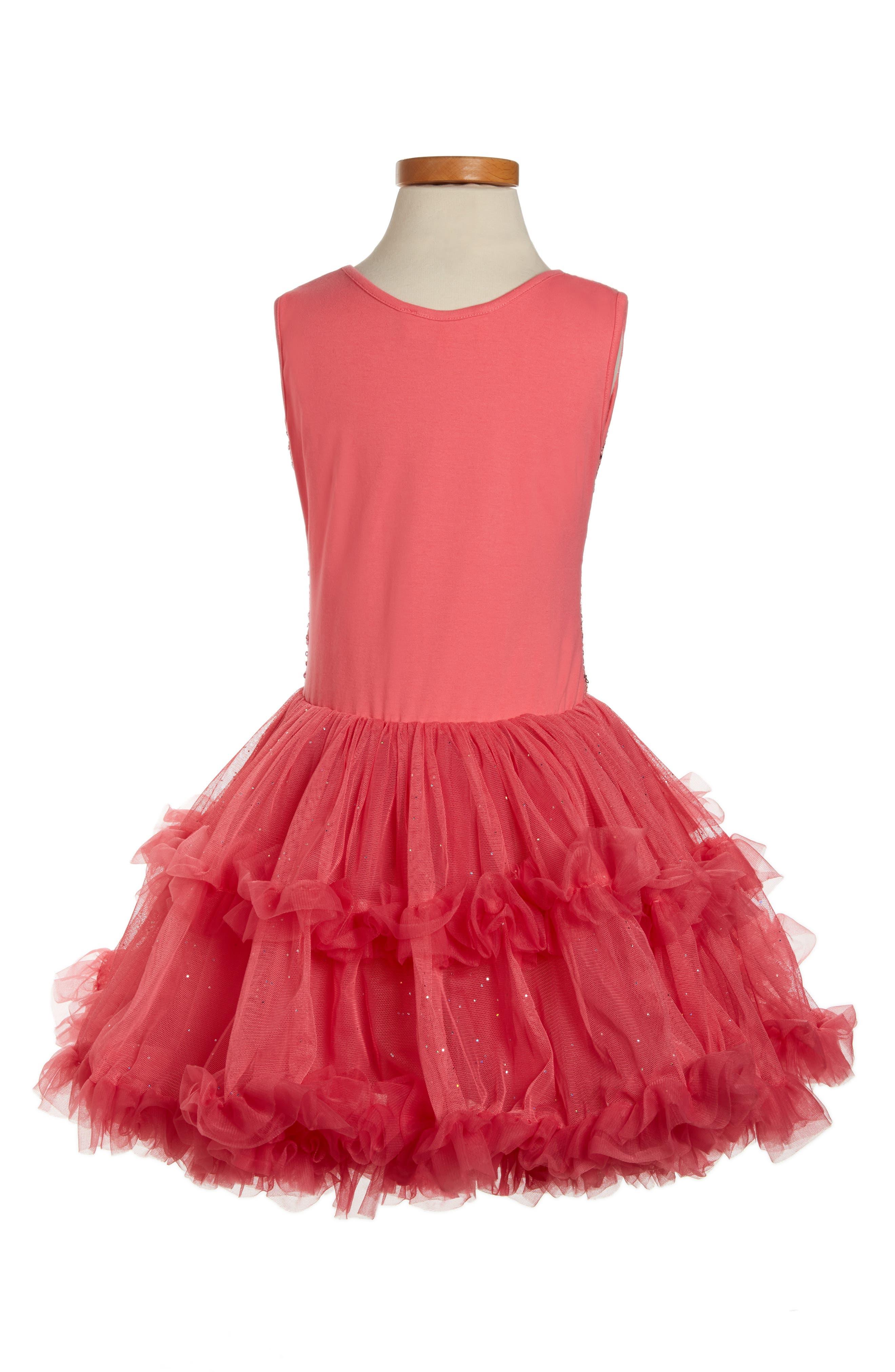 Sequin Sleeveless Dress,                             Alternate thumbnail 2, color,                             PEACH