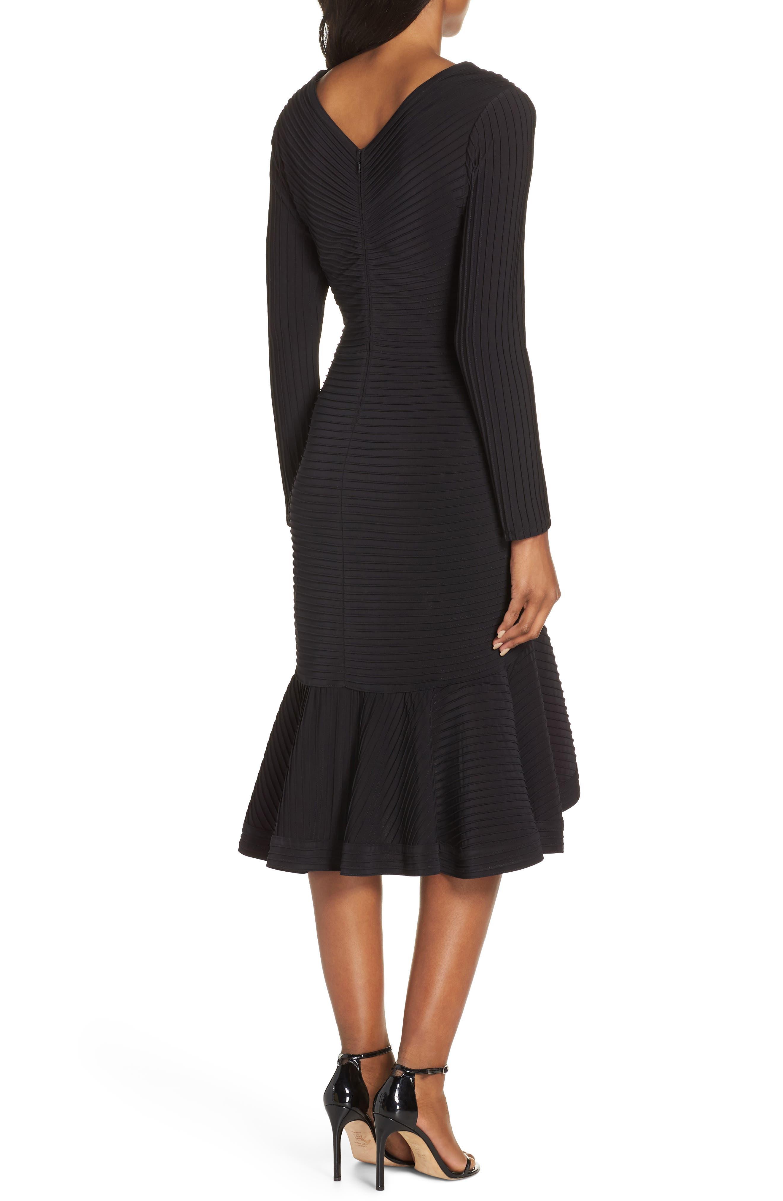 Pintuck High/Low Midi Dress,                             Alternate thumbnail 2, color,                             BLACK