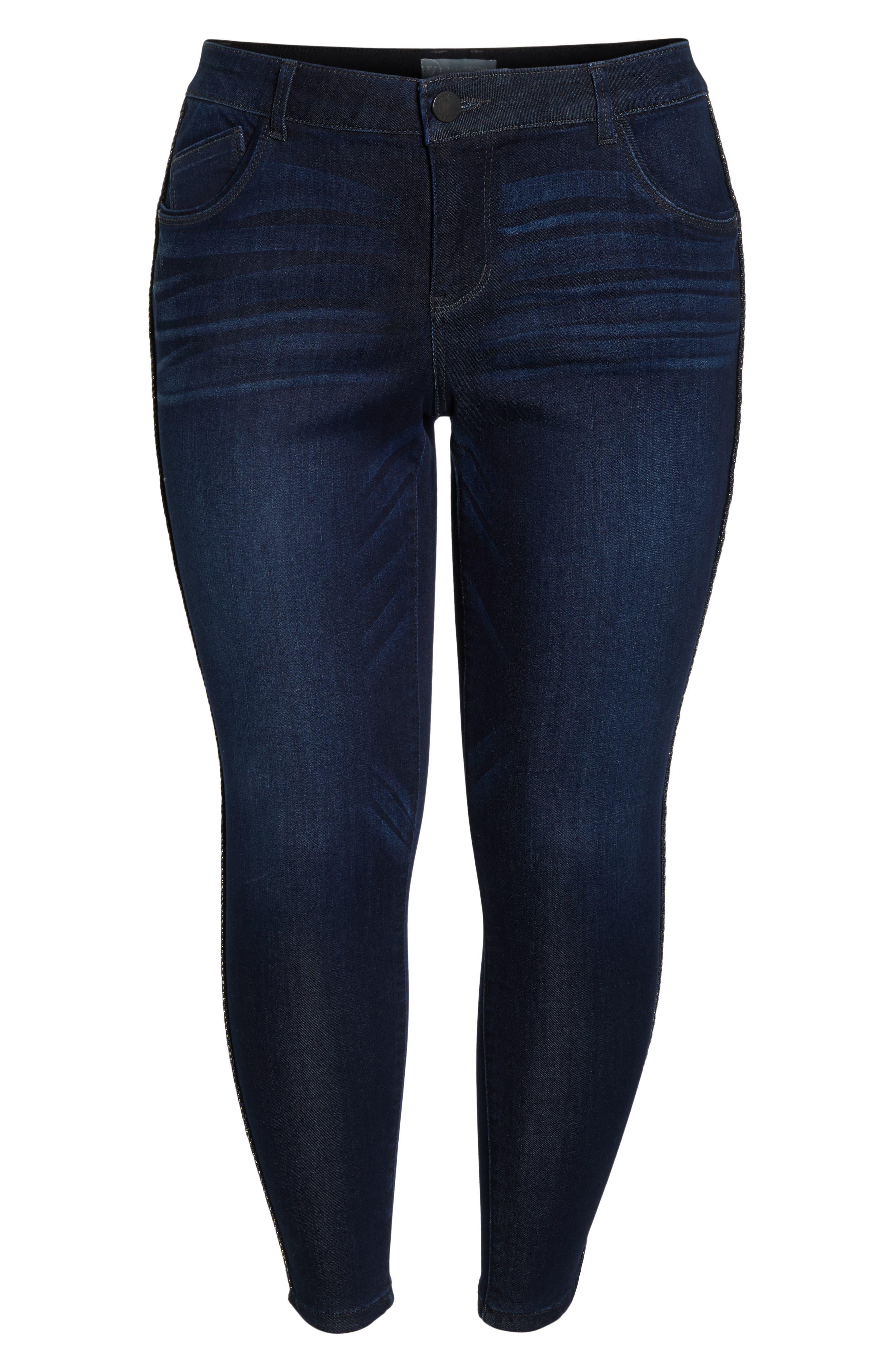 Ab-Solution Side Trim Ankle Jeans,                             Alternate thumbnail 7, color,                             INDIGO