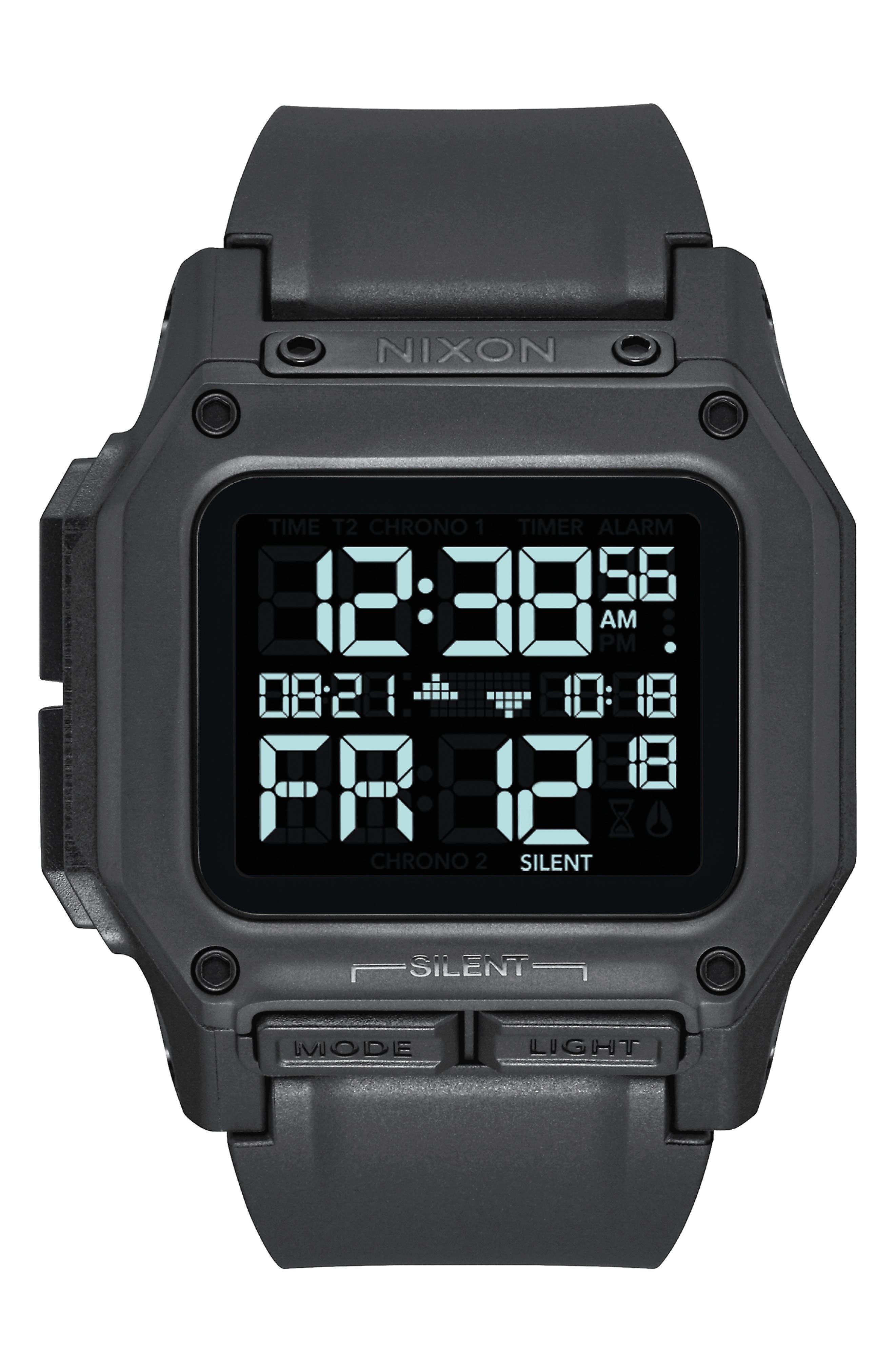 Regulus Digital Watch, 46mm,                             Main thumbnail 1, color,                             BLACK