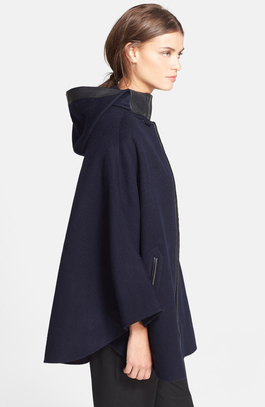 Hooded Wool Blend Cape with Leather Trim,                             Alternate thumbnail 4, color,                             470