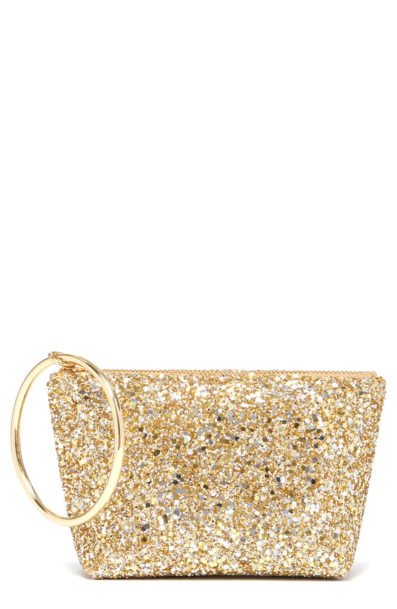 Small Ring Leather Pouch,                         Main,                         color, GOLD GLITTER