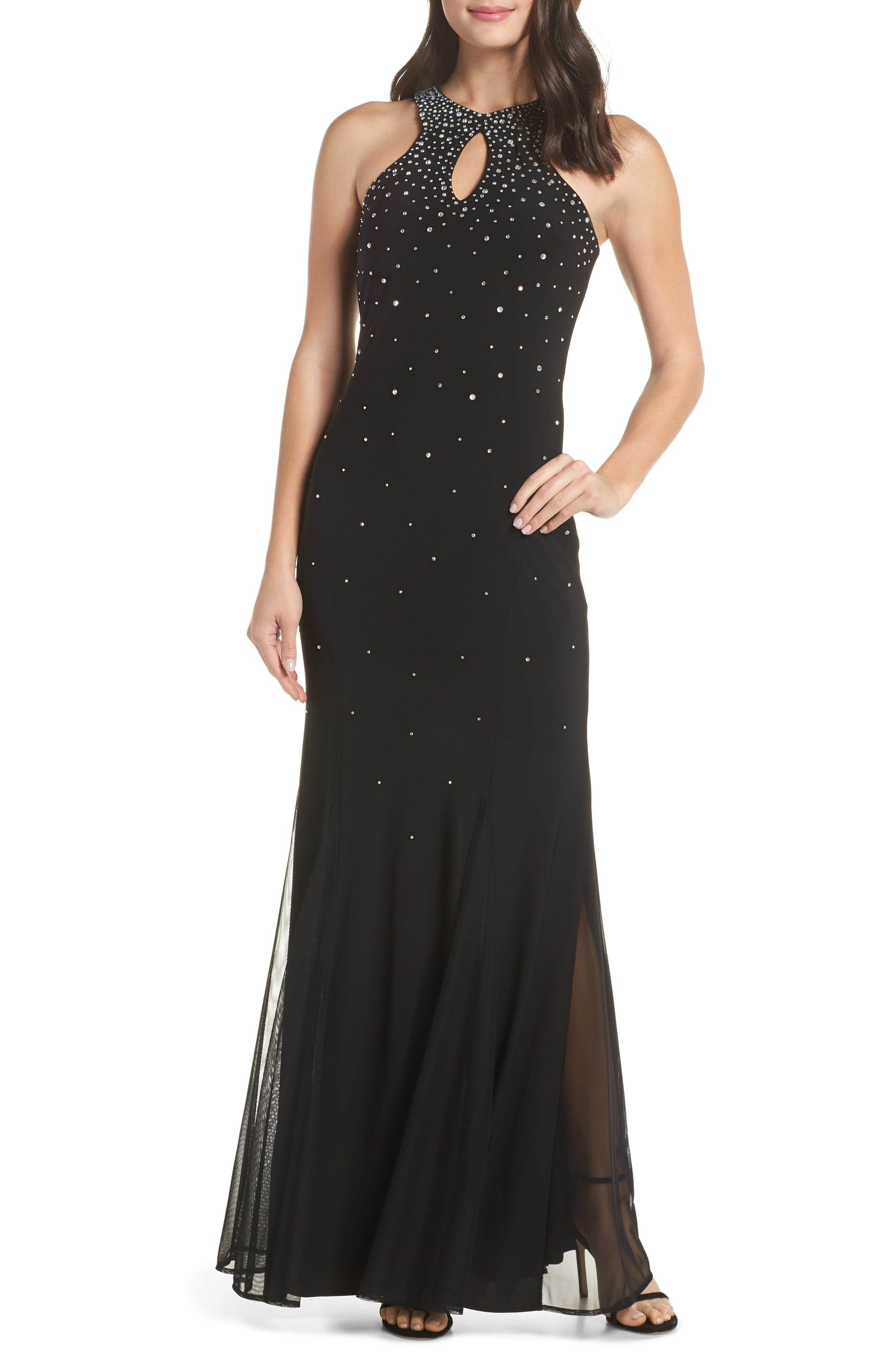 Embellished Keyhole Trumpet Gown,                             Main thumbnail 1, color,                             BLACK