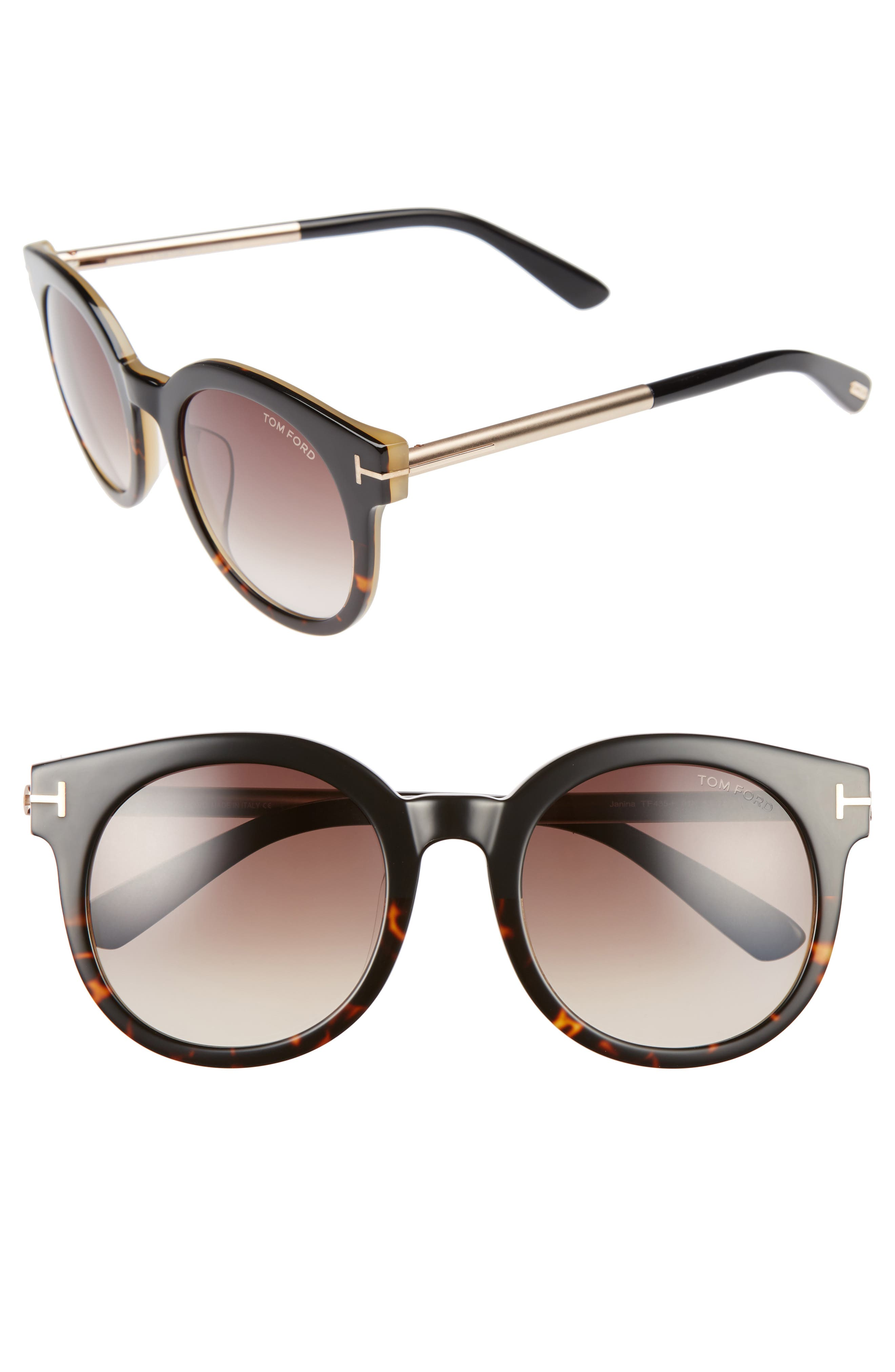 Janina 53mm Special Fit Round Sunglasses,                         Main,                         color, 001