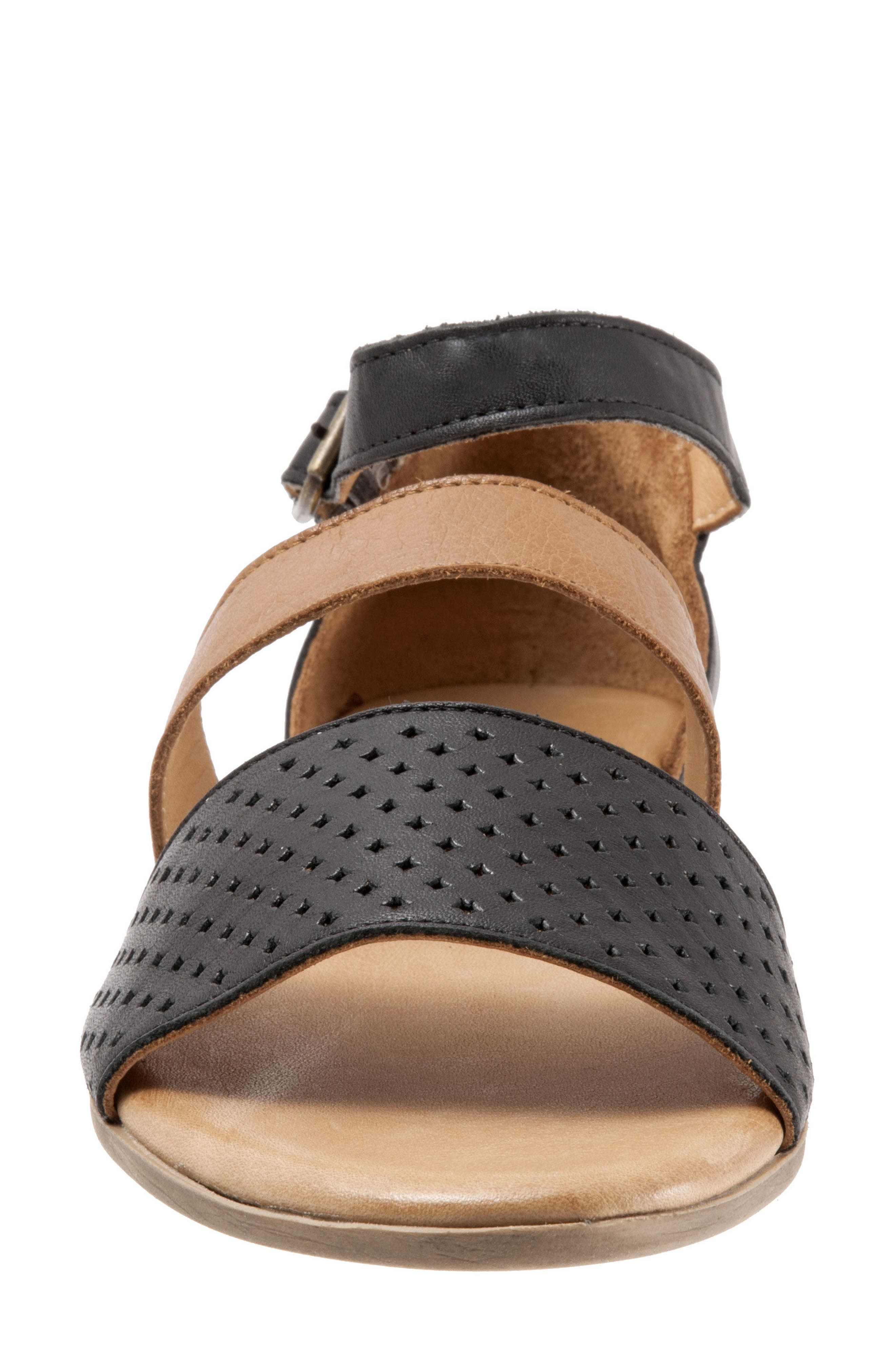 Janet Perforated Flat Sandal,                             Alternate thumbnail 4, color,                             BLACK LEATHER