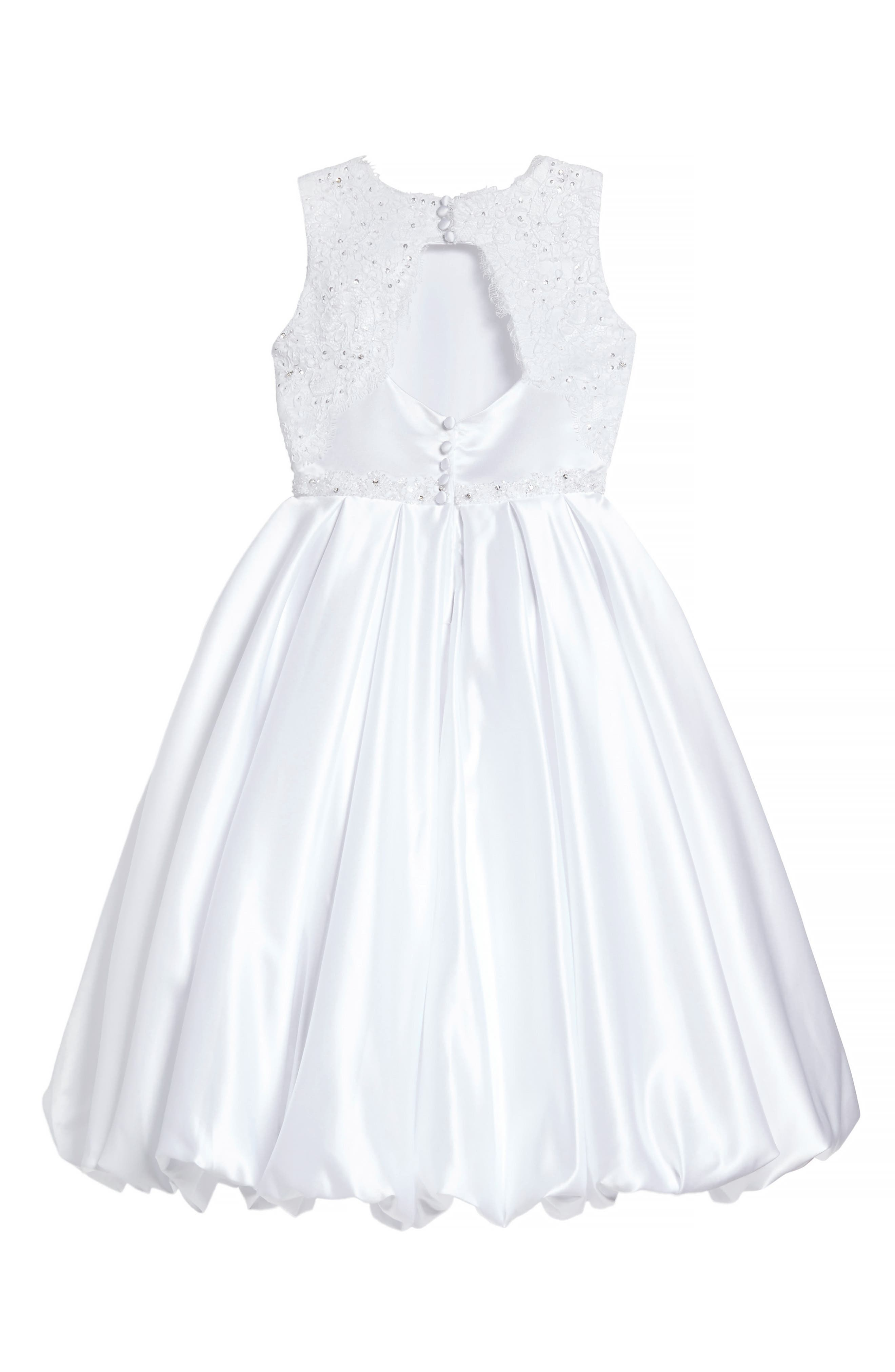 Beaded Lace & Satin First Communion Dress,                             Alternate thumbnail 3, color,
