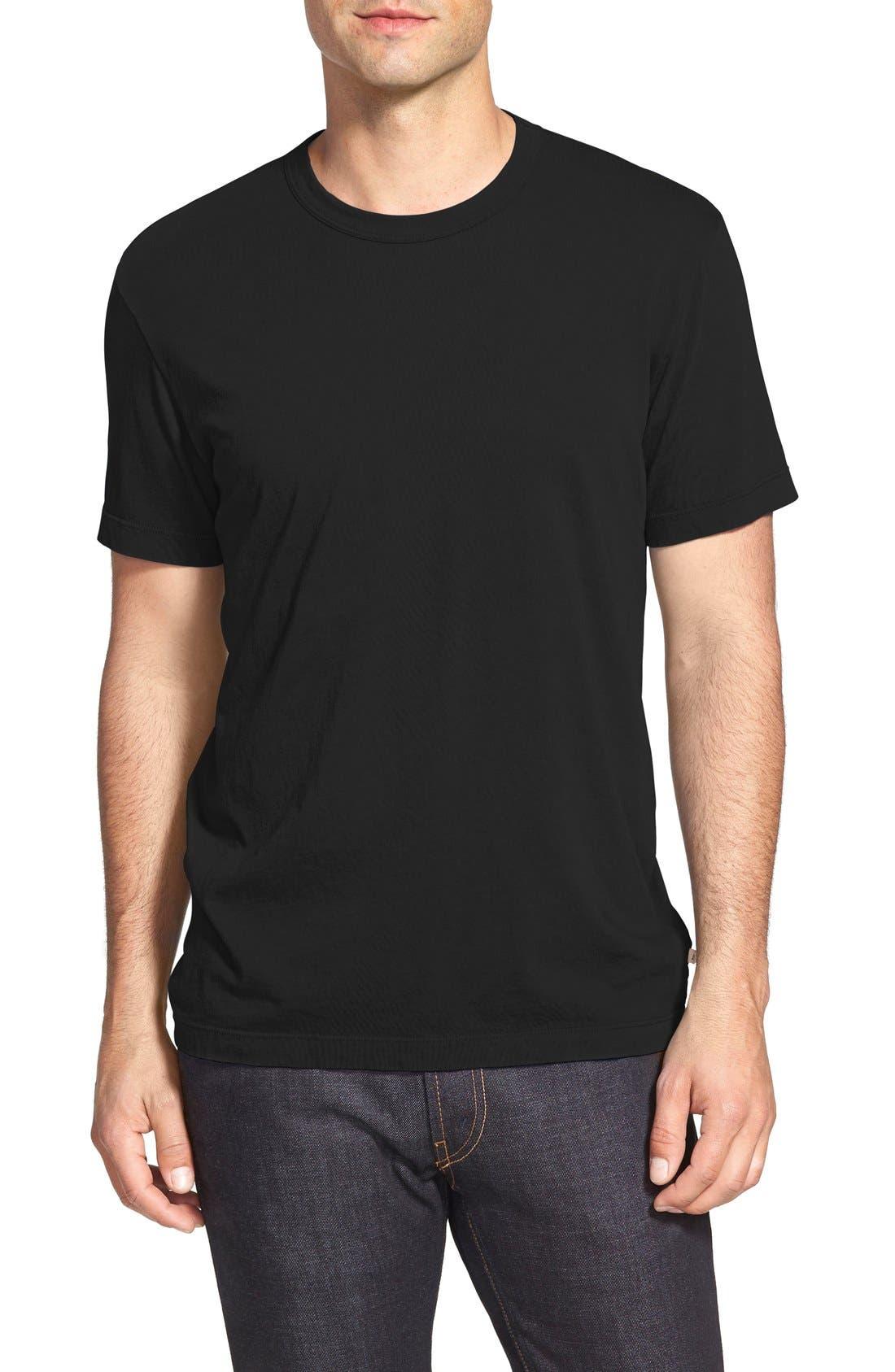 Crewneck Jersey T-Shirt,                         Main,                         color, BLACK