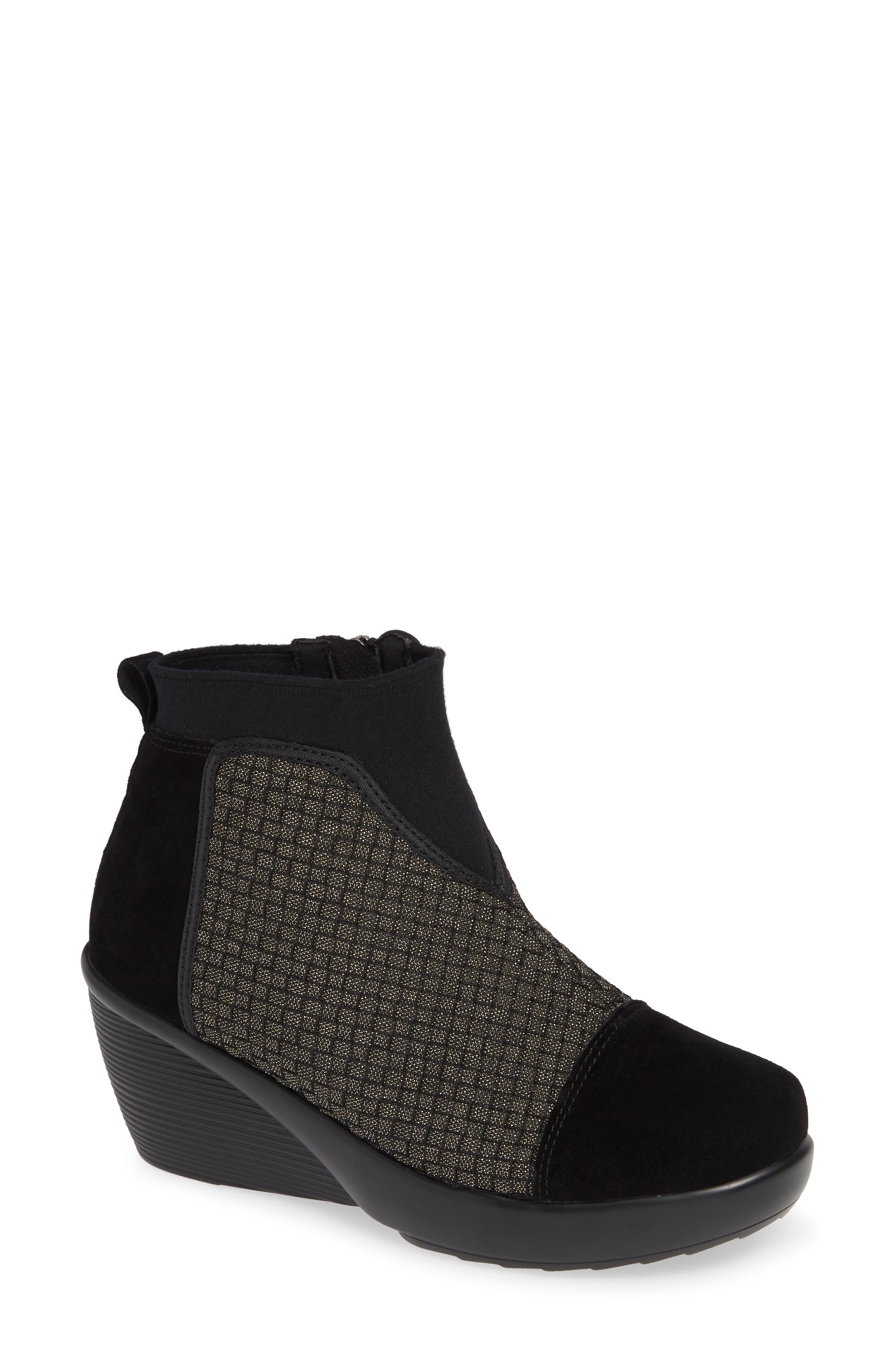 Zoe Wedge Bootie,                         Main,                         color, GOLD BLACK SHIMMER LEATHER