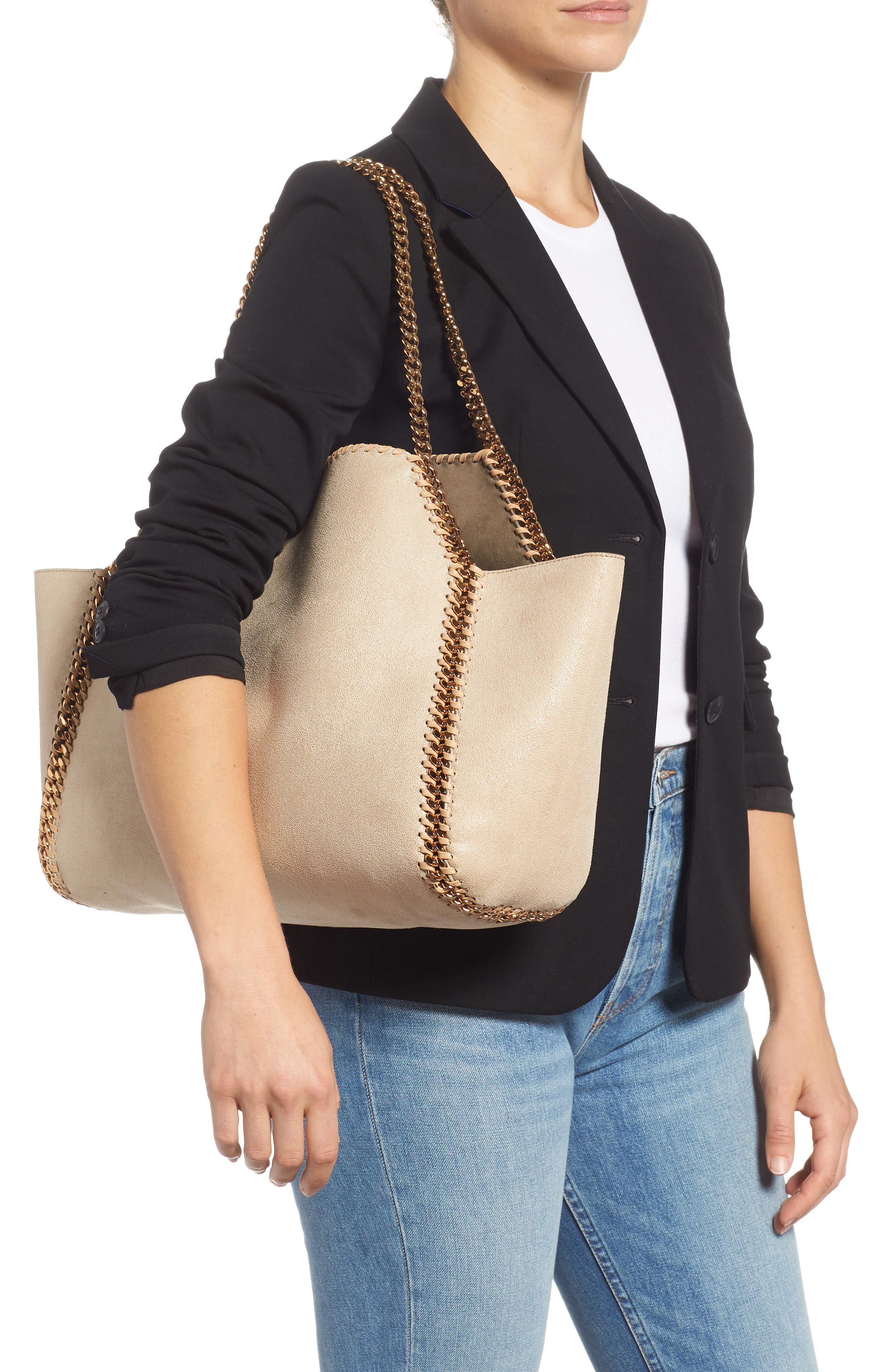 Shaggy Deer Reversible Faux Leather Tote,                             Alternate thumbnail 2, color,                             CLOTTED CREAM