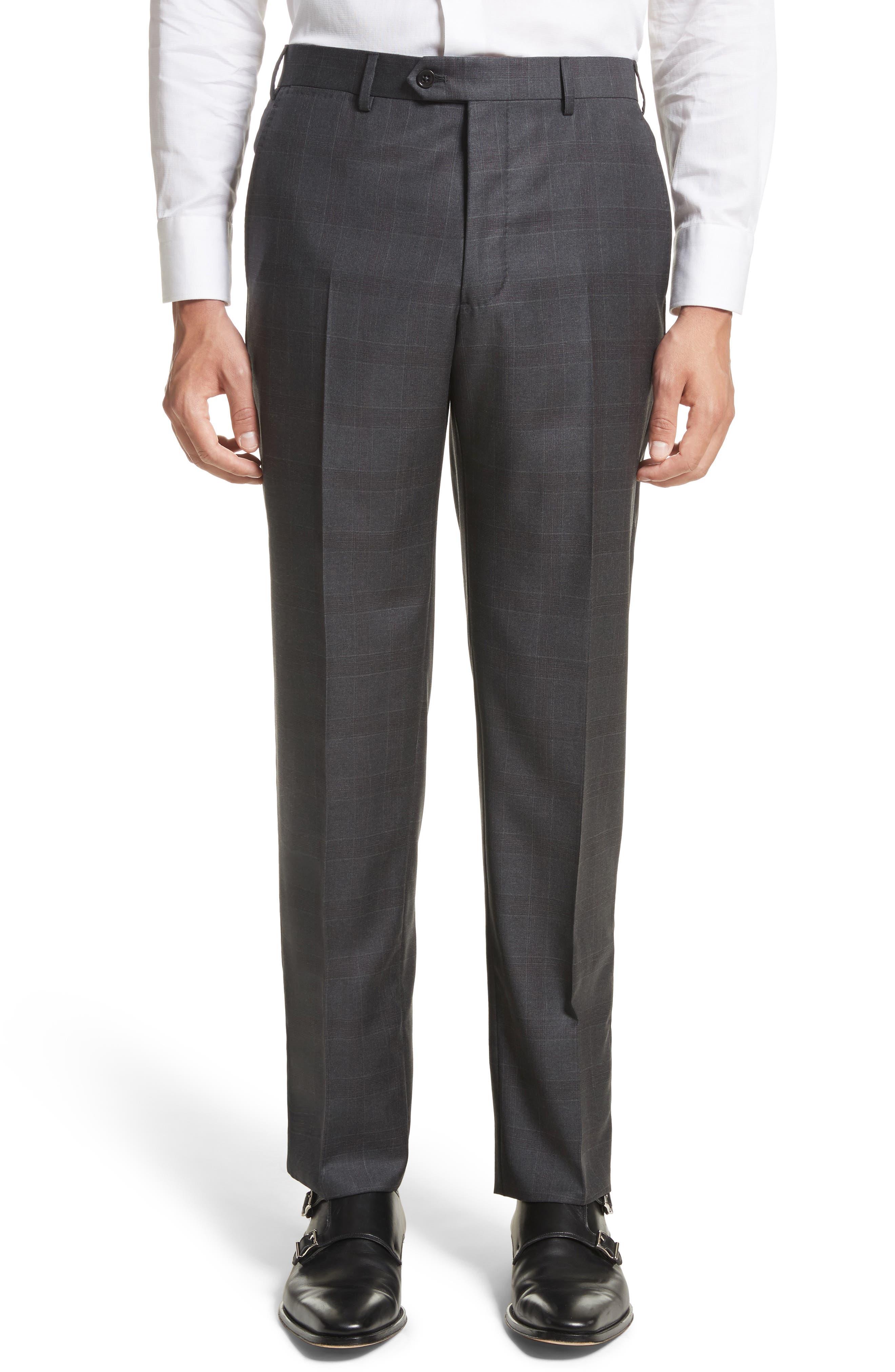 G-Line Trim Fit Plaid Wool Suit,                             Alternate thumbnail 6, color,                             038