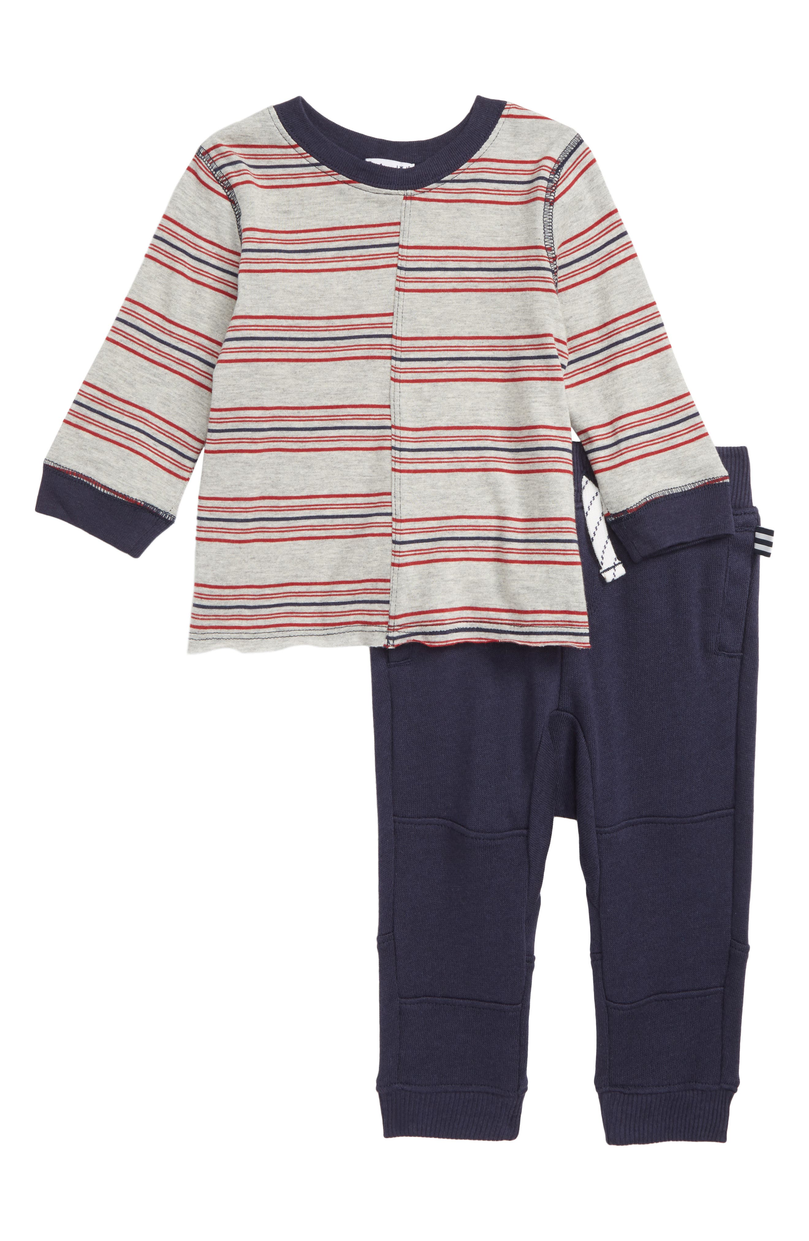 Stripe T-Shirt & Jogger Pants Set,                             Main thumbnail 1, color,                             TRUE NAVY