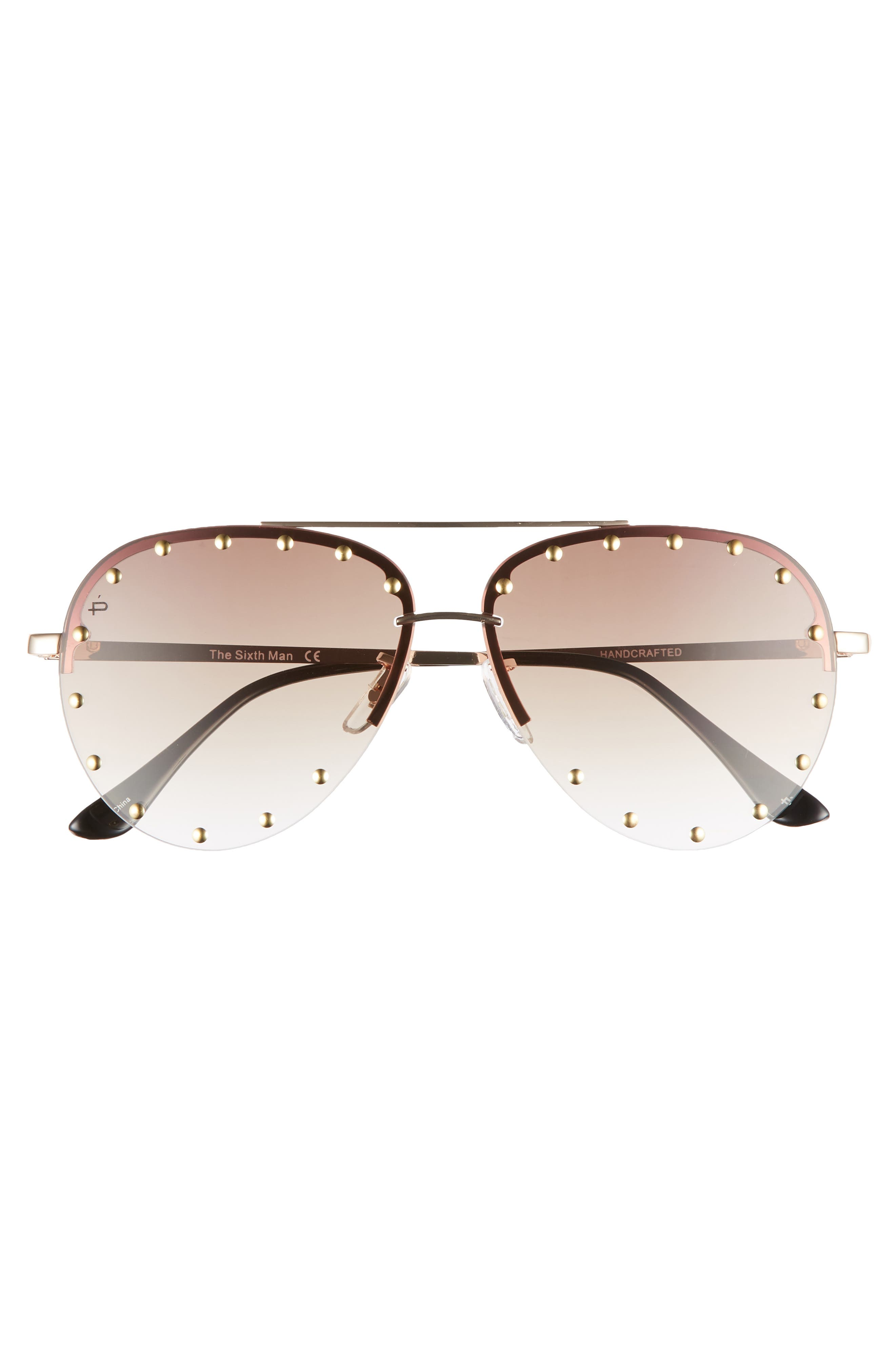 Privé Revaux The Sixth Man 60mm Studded Aviator Sunglasses,                             Alternate thumbnail 8, color,