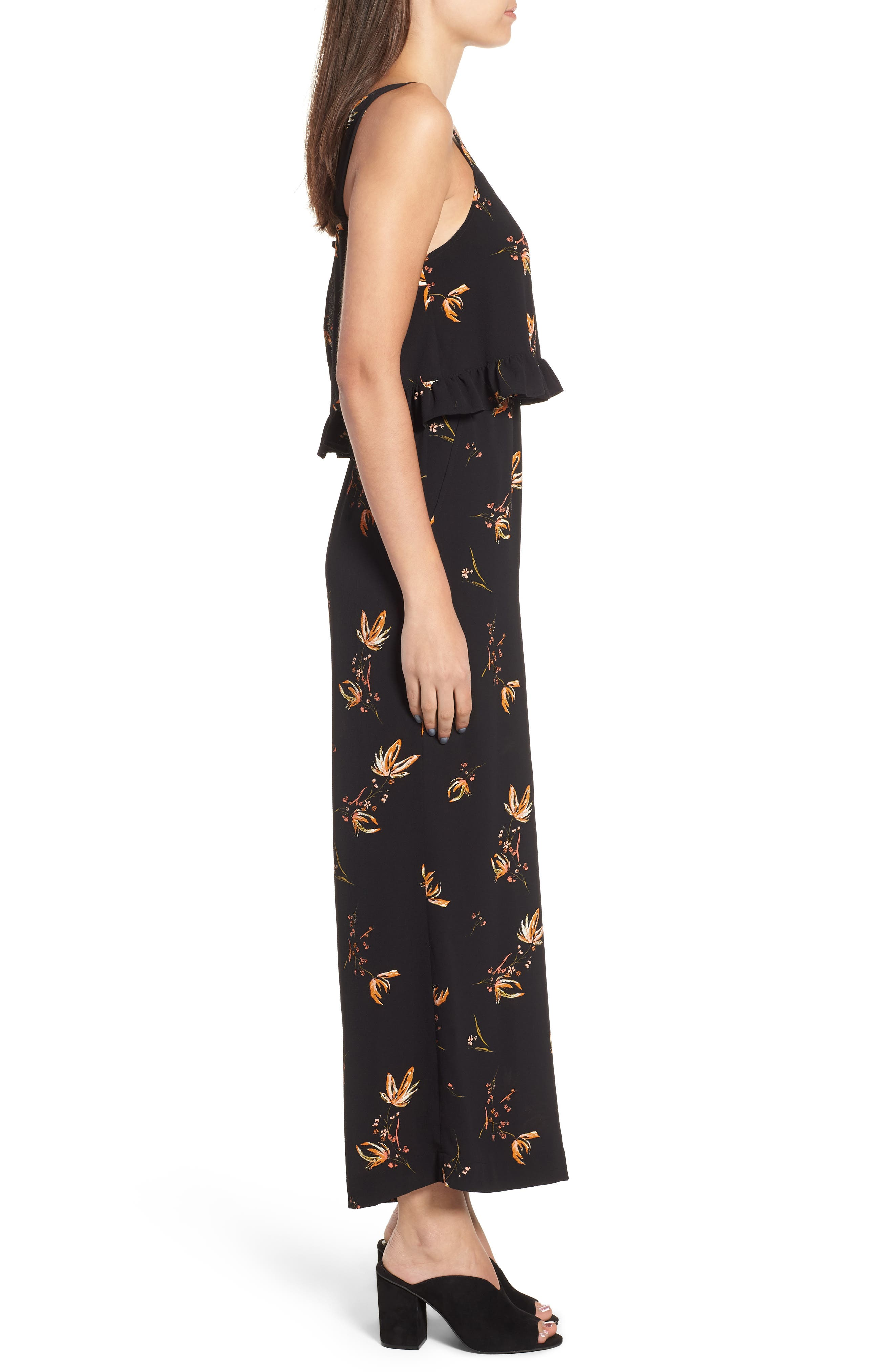 Ruffled Floral Print Jumpsuit,                             Alternate thumbnail 3, color,                             001