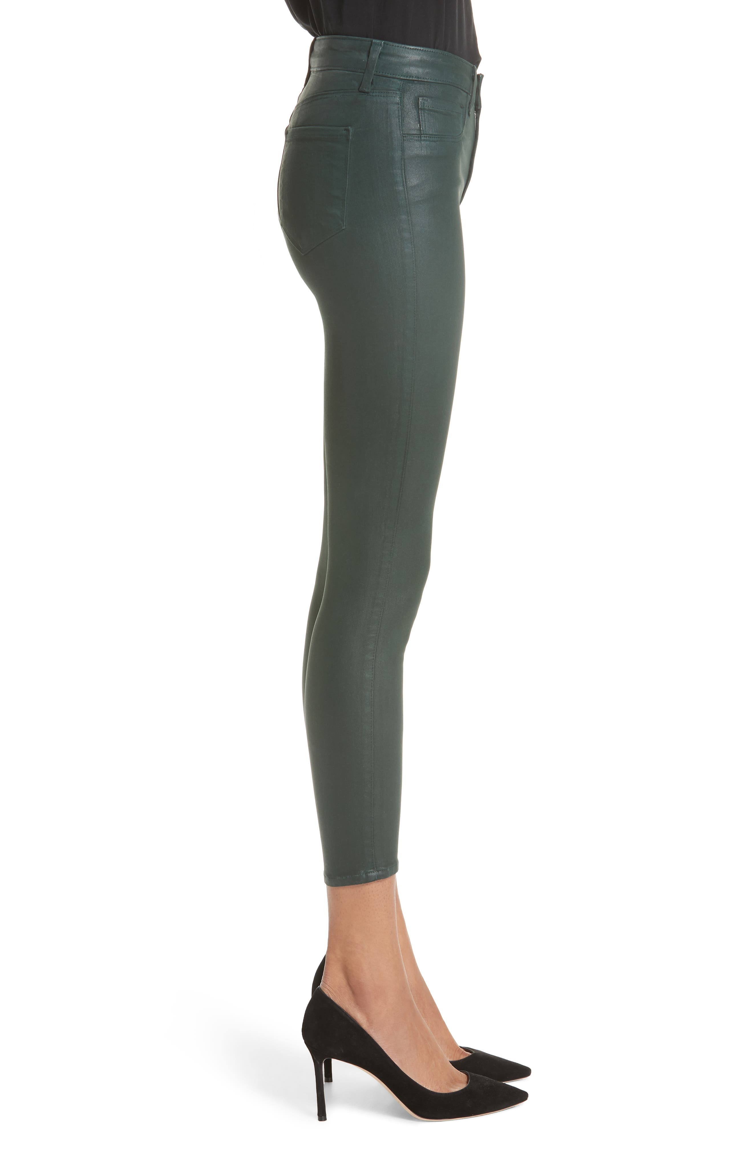 L'AGENCE,                             Margot Coated Crop Skinny Jeans,                             Alternate thumbnail 3, color,                             EVERGREEN COATED