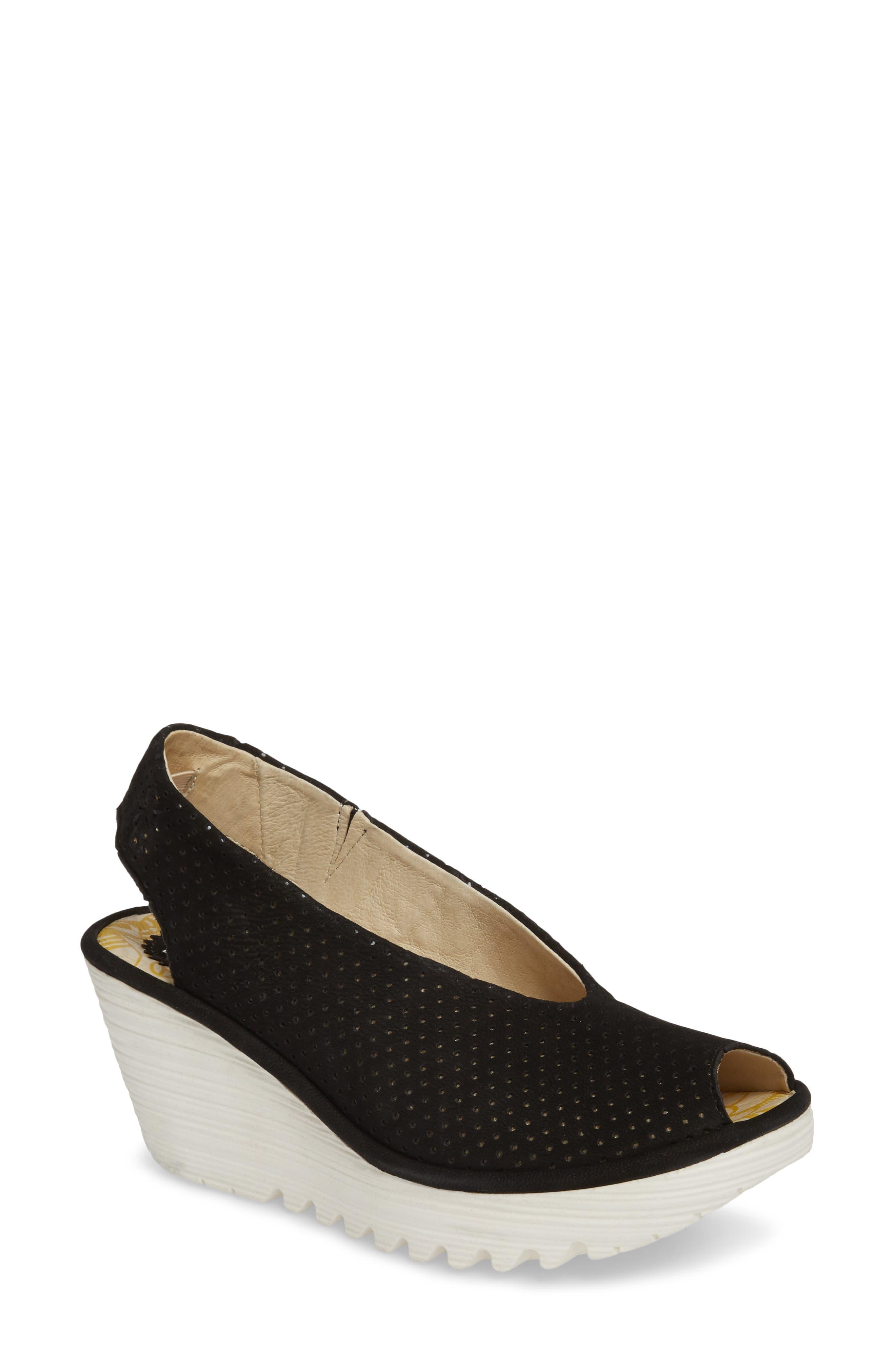 Yazu Wedge Sandal,                         Main,                         color, BLACK/ BLACK LEATHER