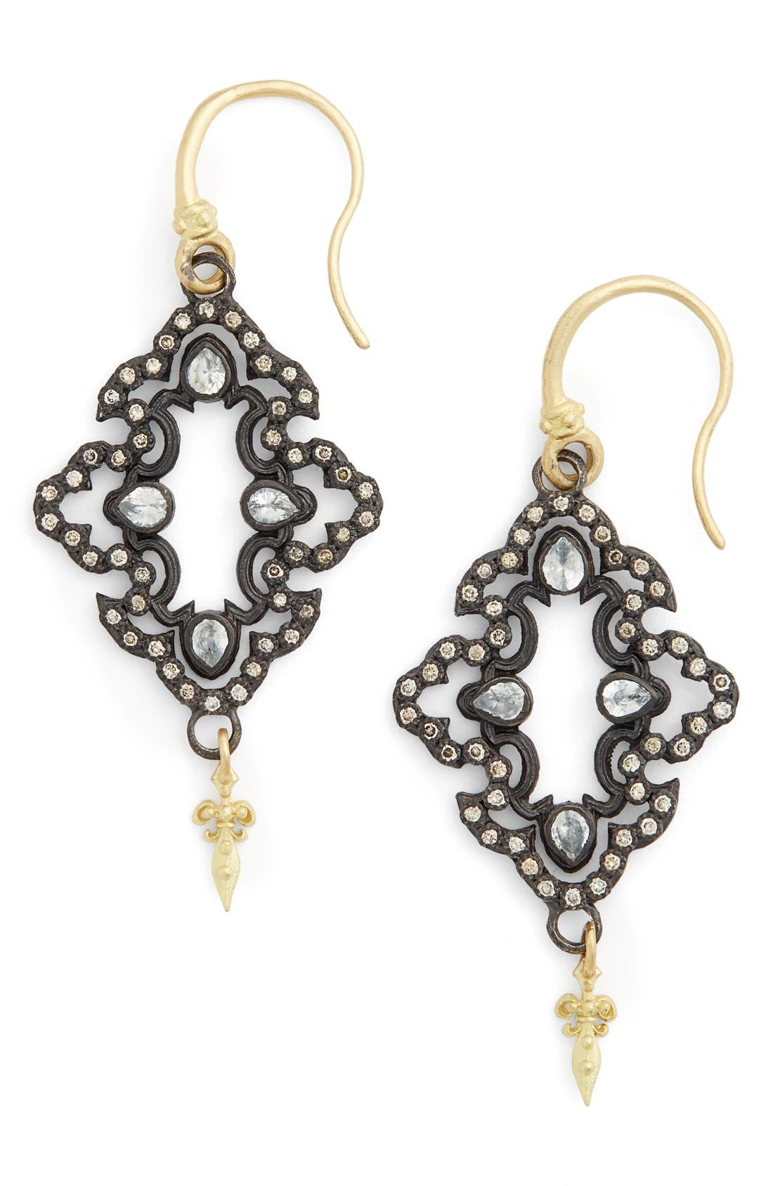 Old World Open Scroll Drop Earrings,                             Main thumbnail 1, color,                             CHAMPAGNE/ BLACK